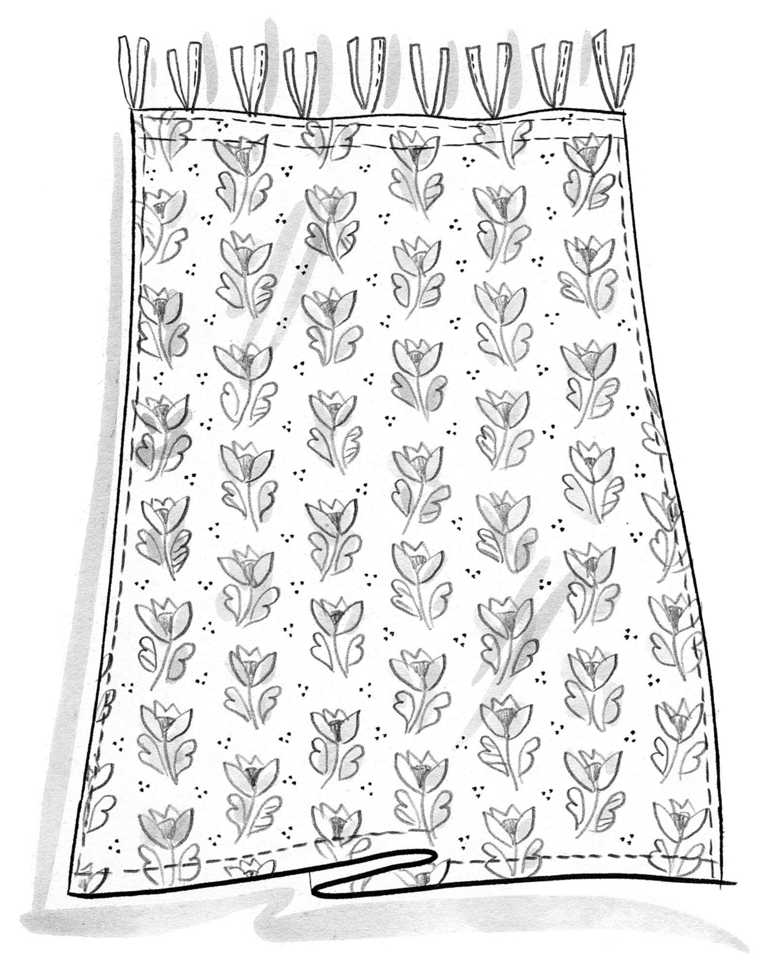 """Herb"" short curtain, block-printed on organic cotton"