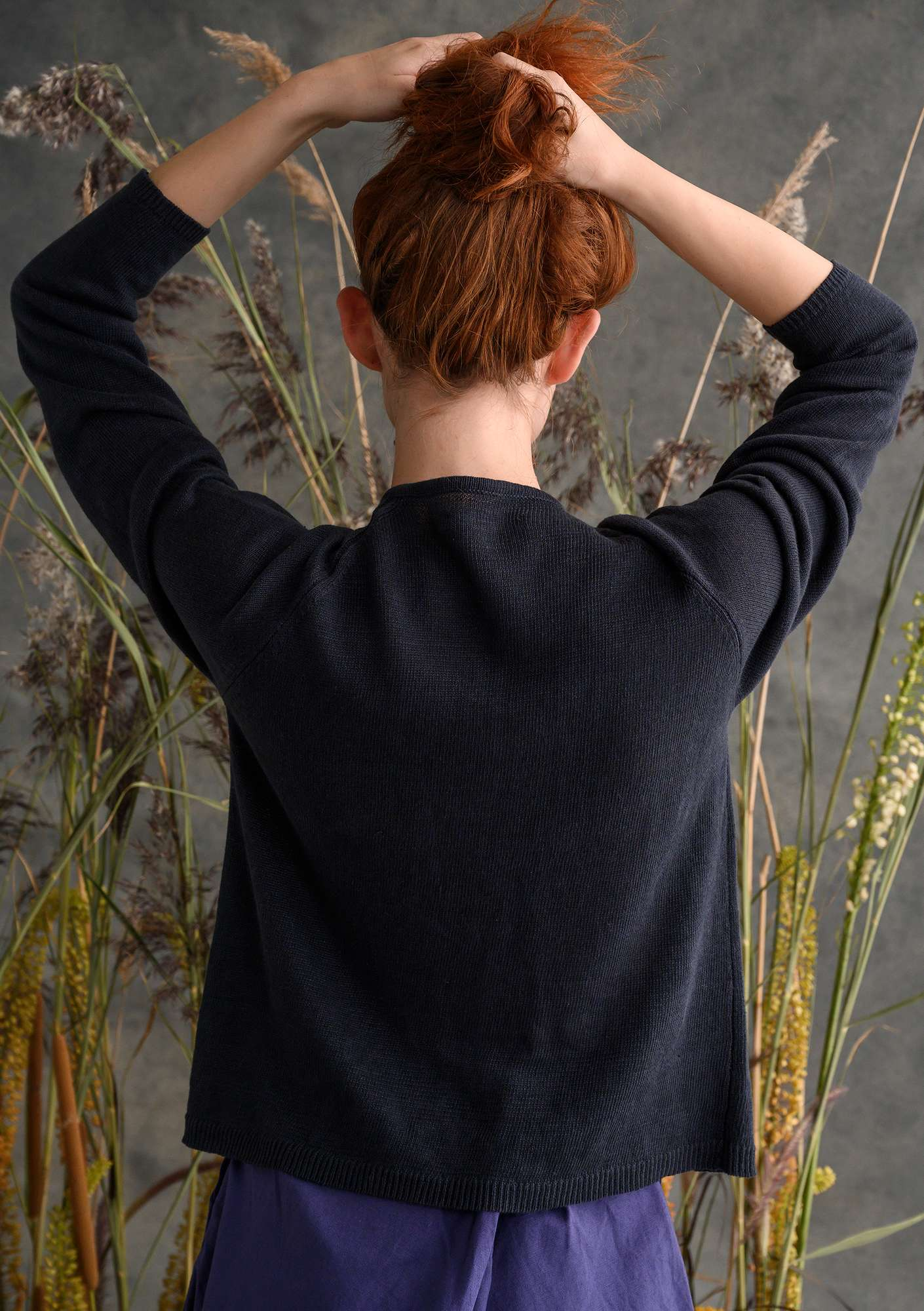 A lovable cardigan crafted from organic linen ink blue