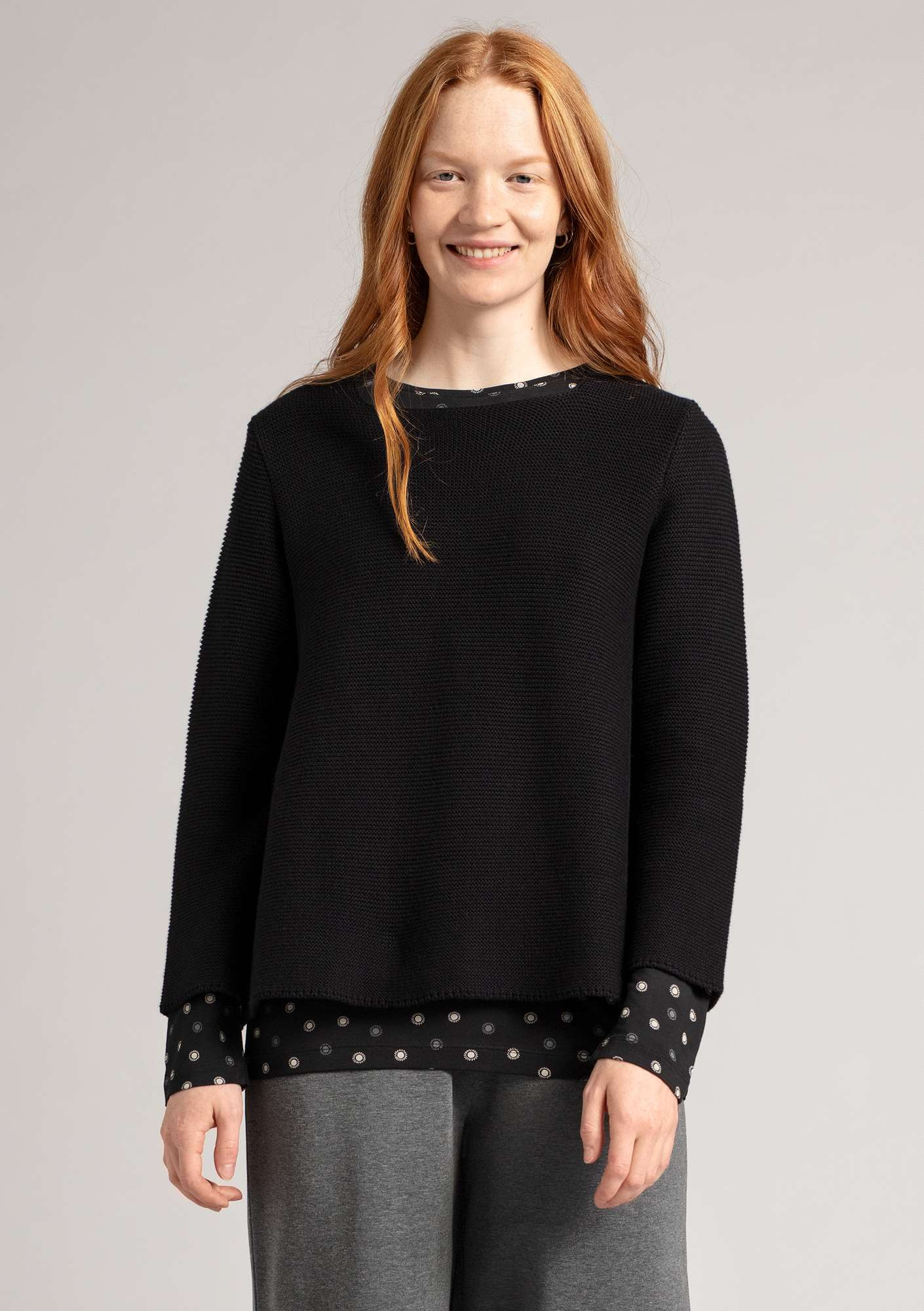 Pull au point mousse en écocoton noir
