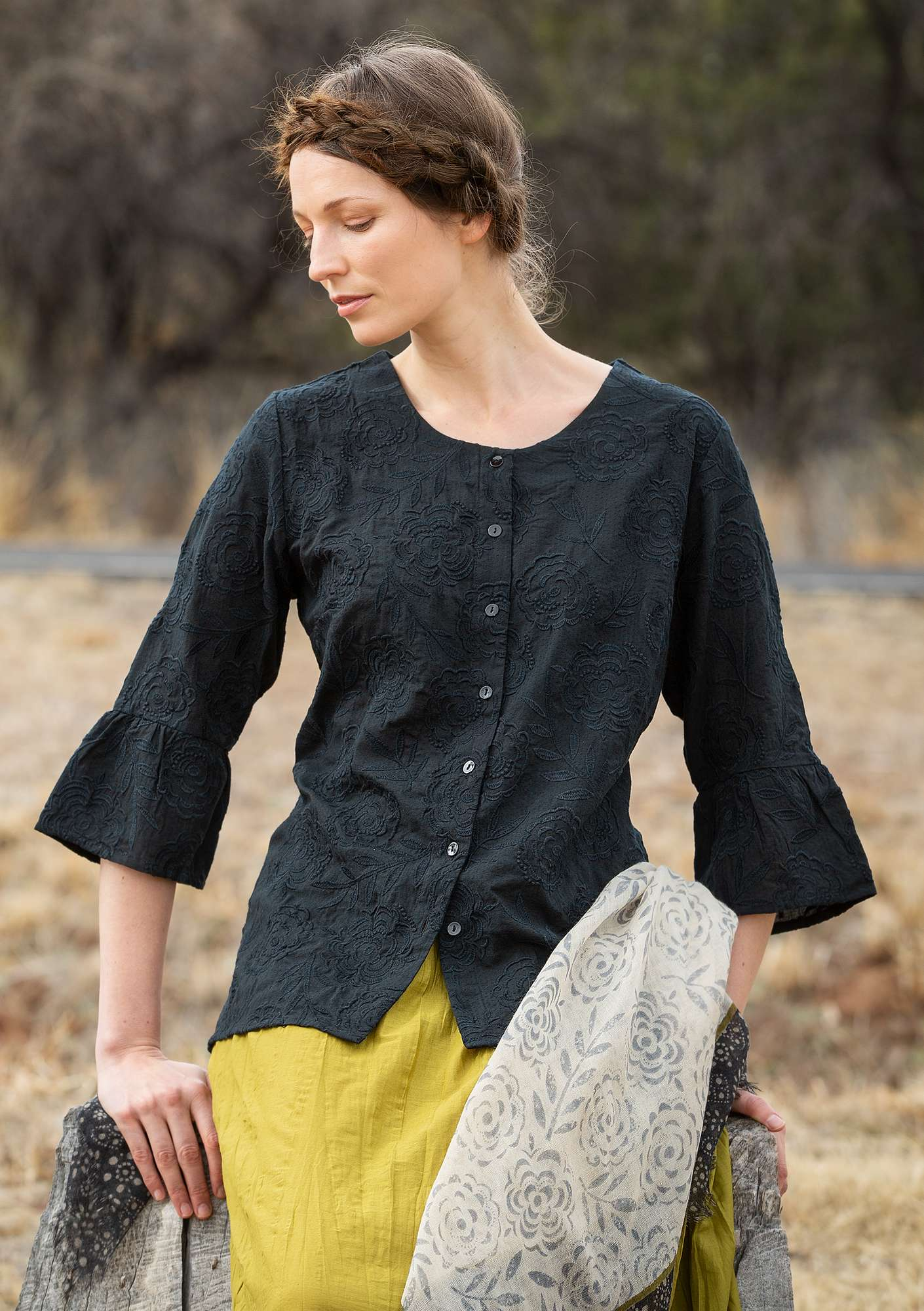 """Sunday"" blouse in organic cotton black"