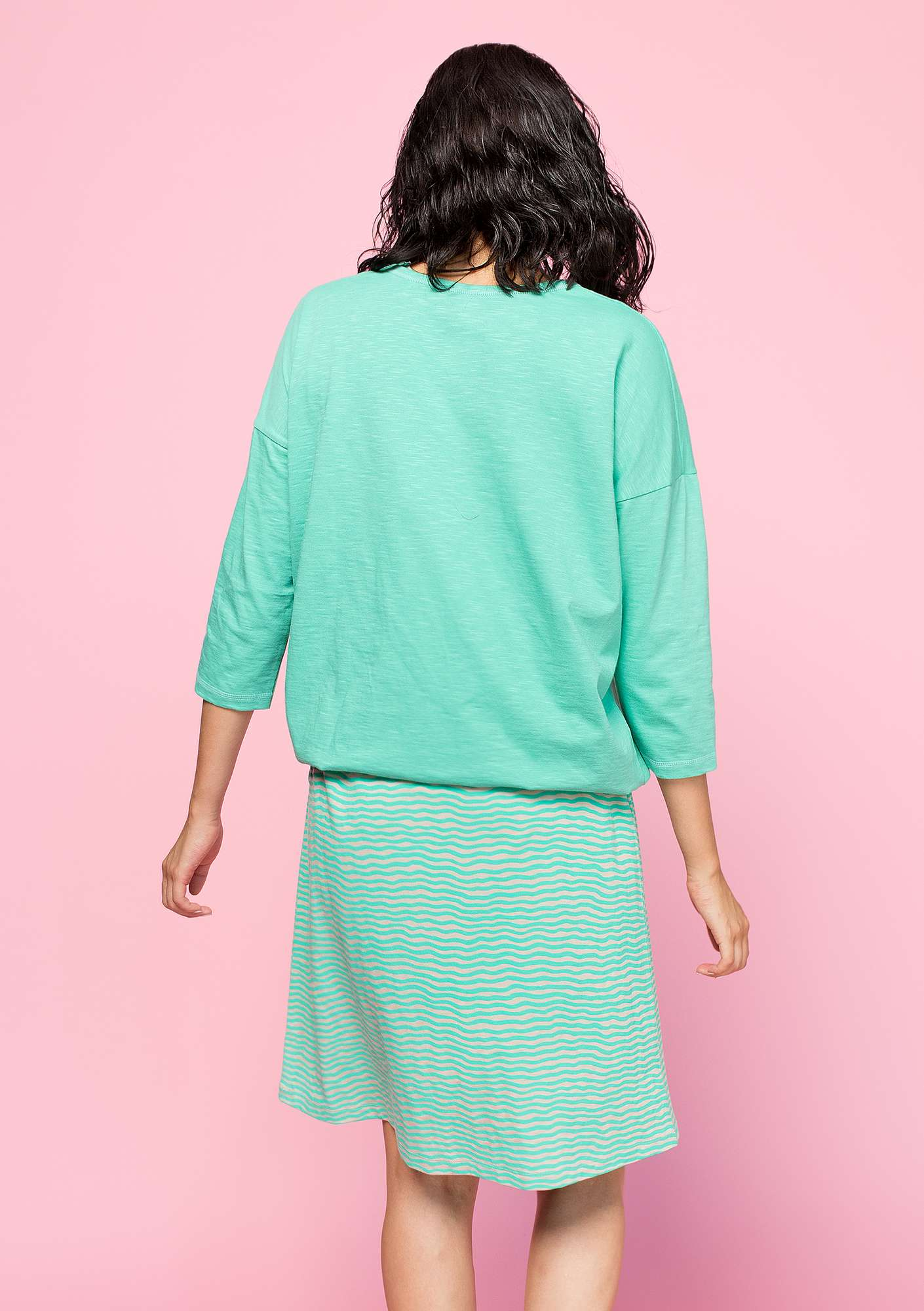 Top in organic cotton light oriental green