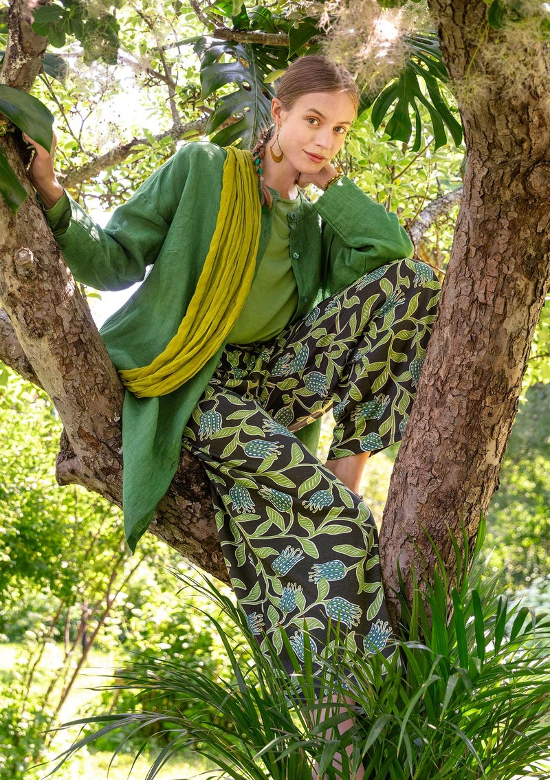 """Azilal"" organic cotton/modal jersey trousers verona green"