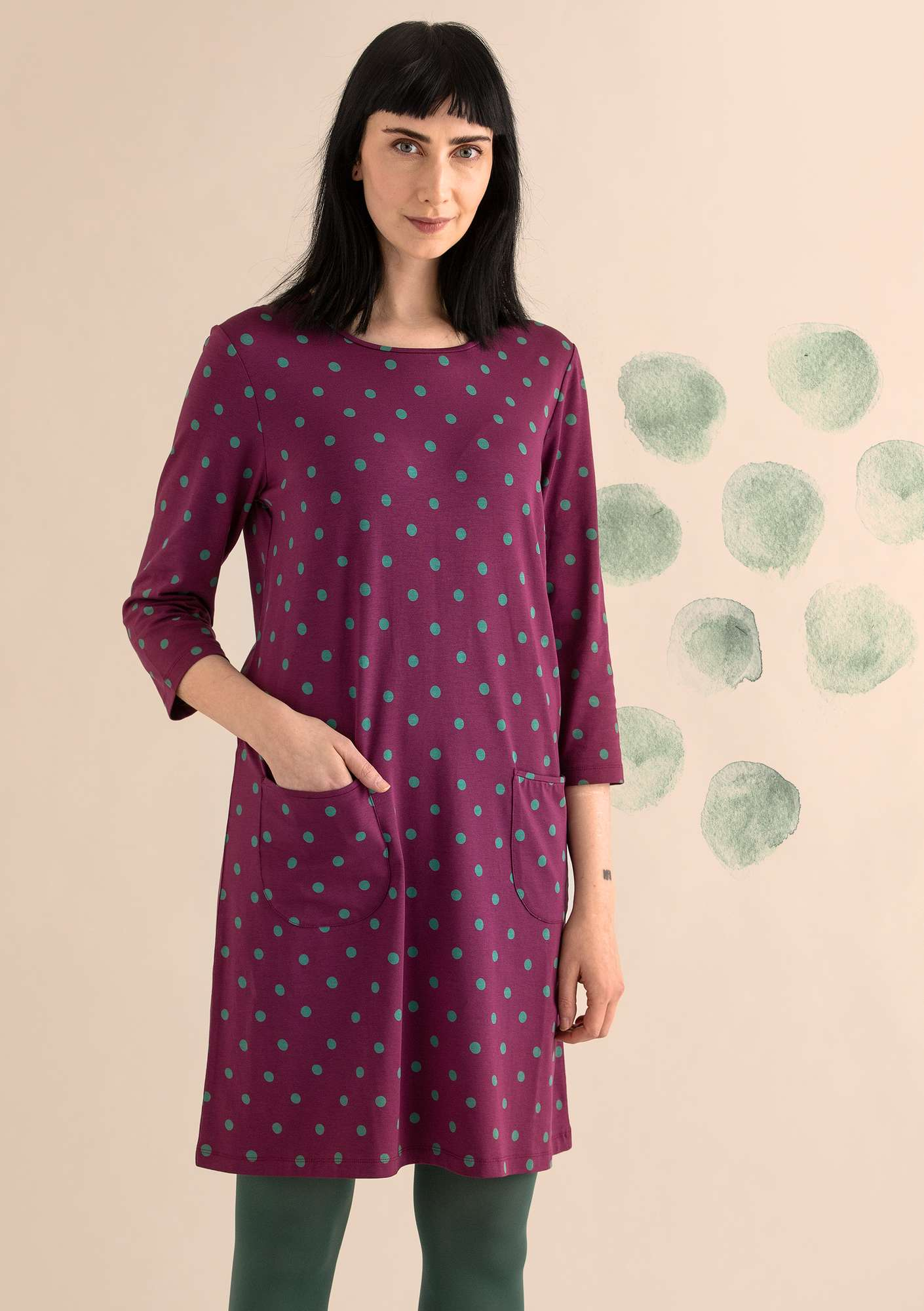 DOT dress in modal/organic cotton/elastane grape/patterned