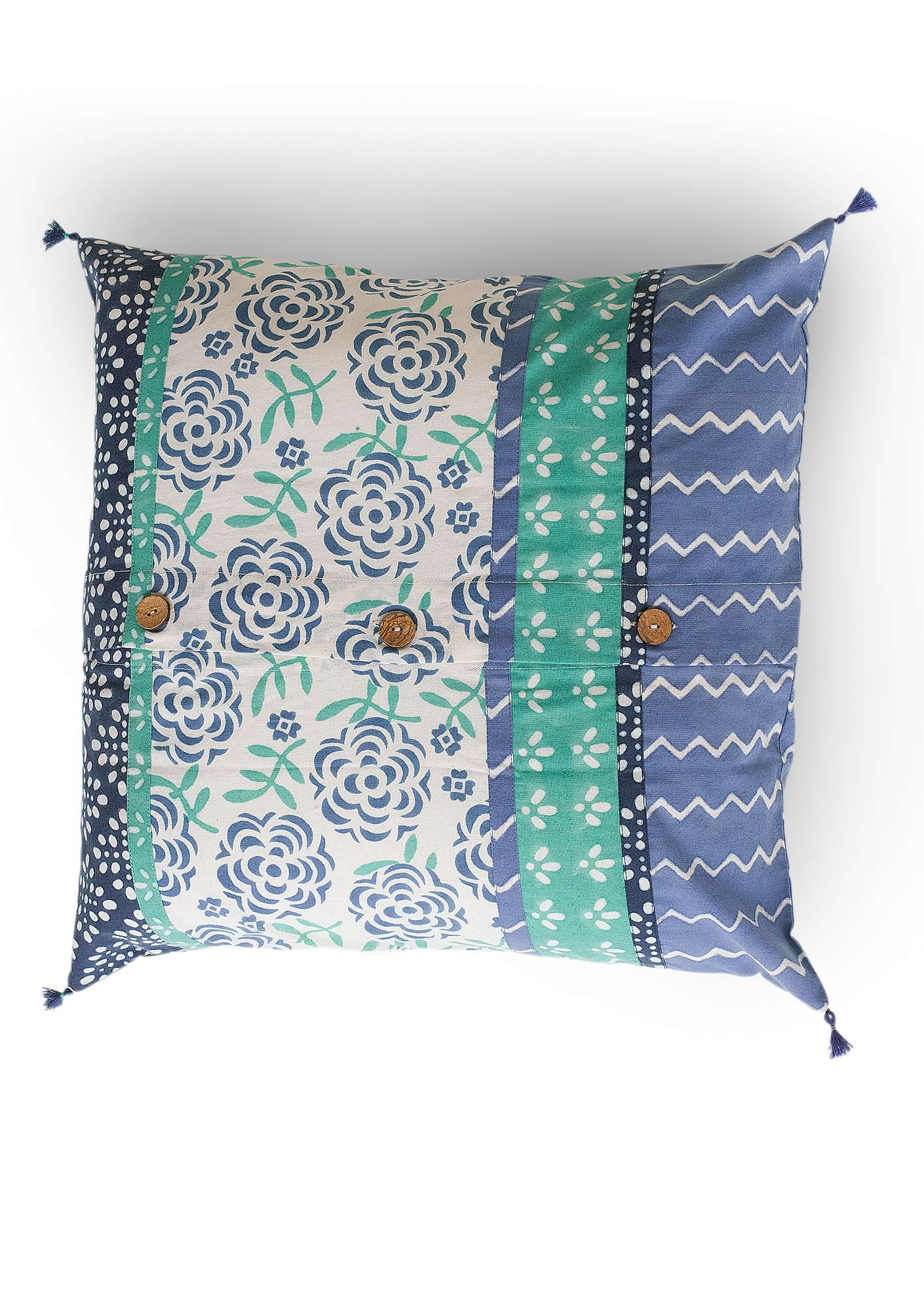 """Amita"" organic cotton cushion cover flax blue"