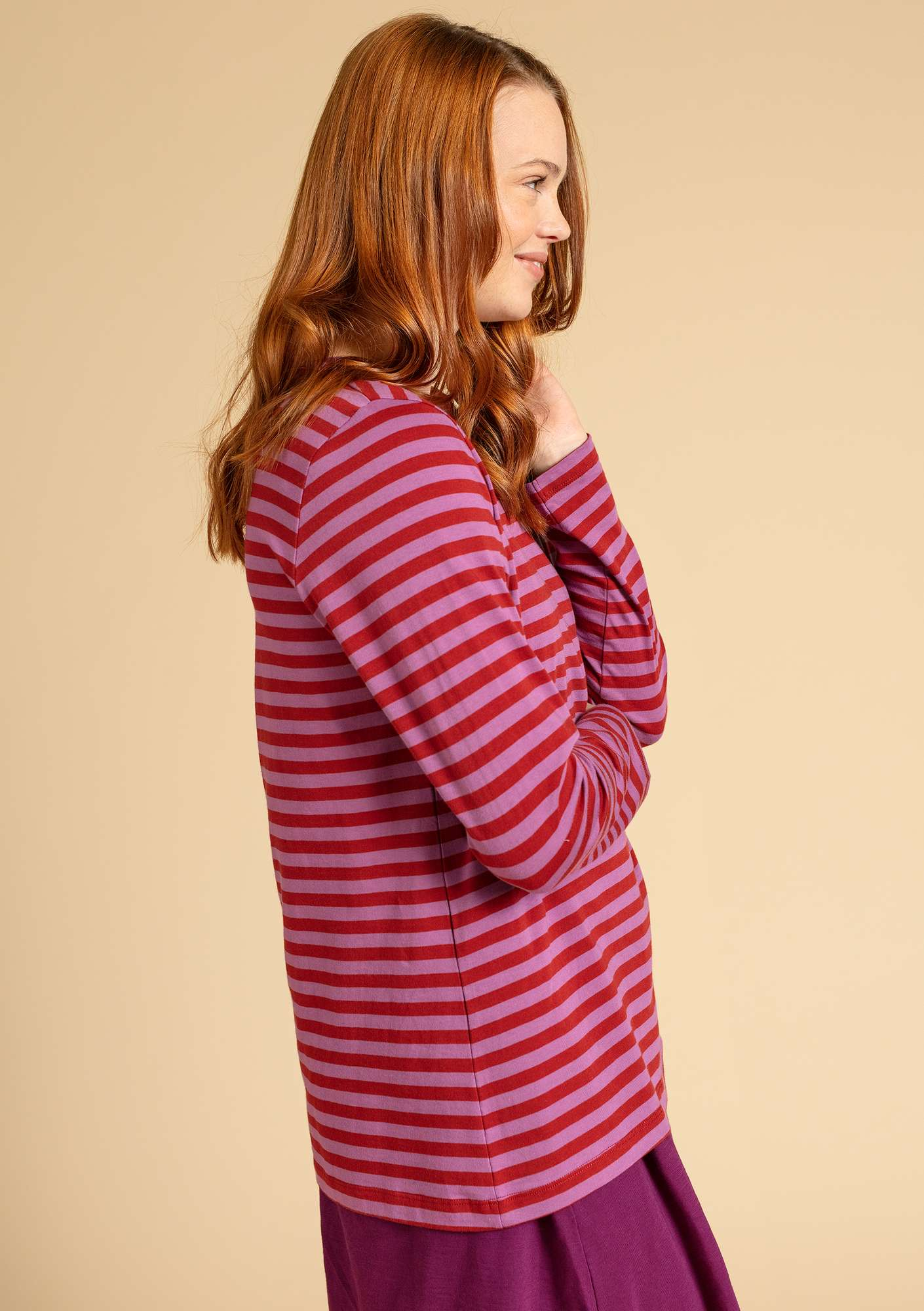 Essential-stripe sweater in organic cotton madder red/heather