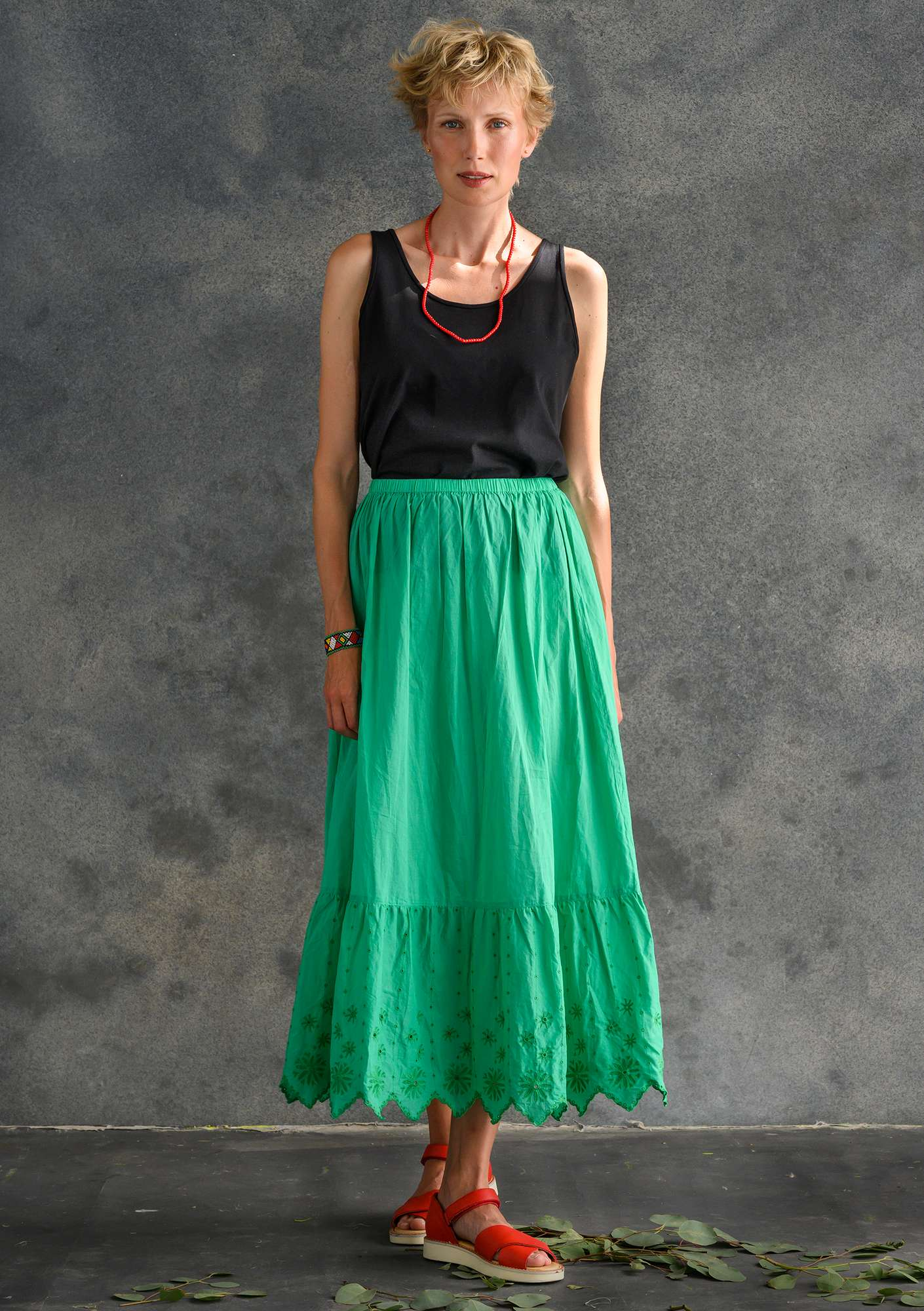 Ruffled organic cotton skirt lotus green