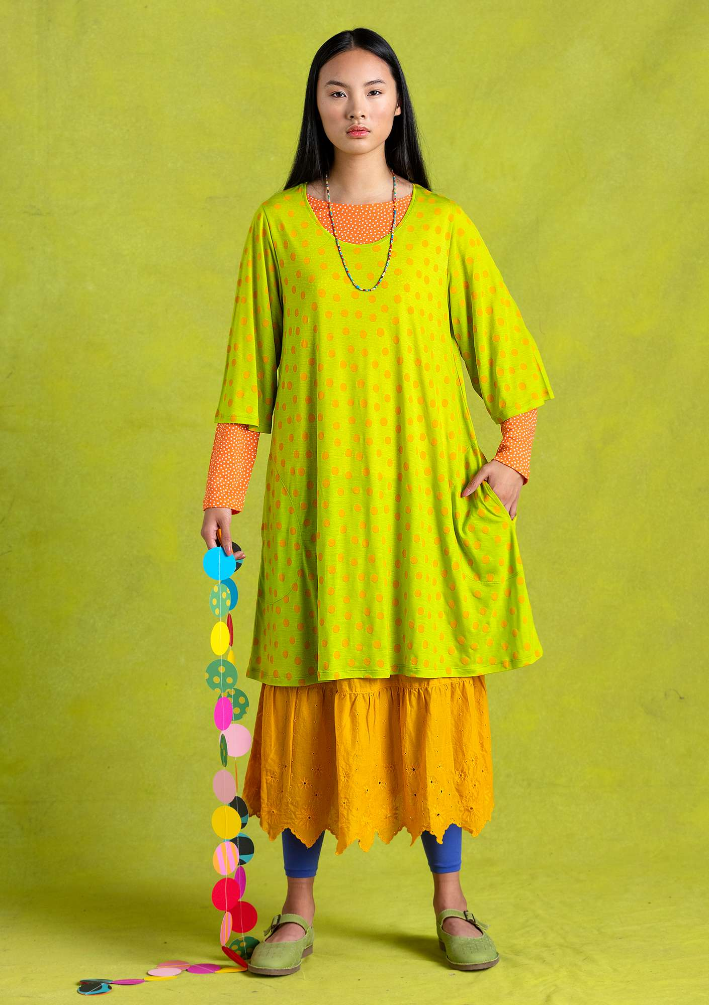 """Josefin"" lyocell tunic tropical green"