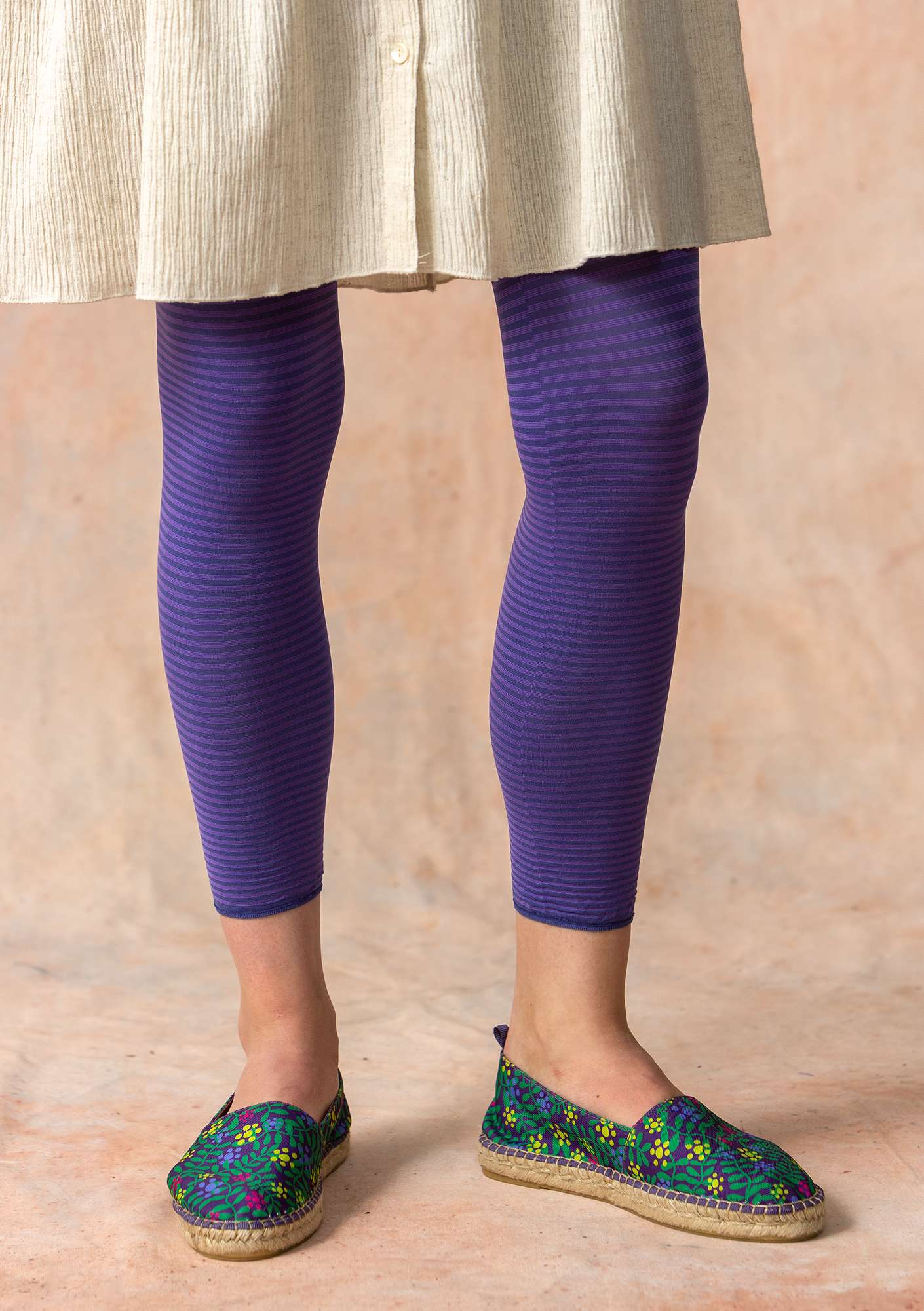 Striped leggings in recycled polyamide violet/sky blue