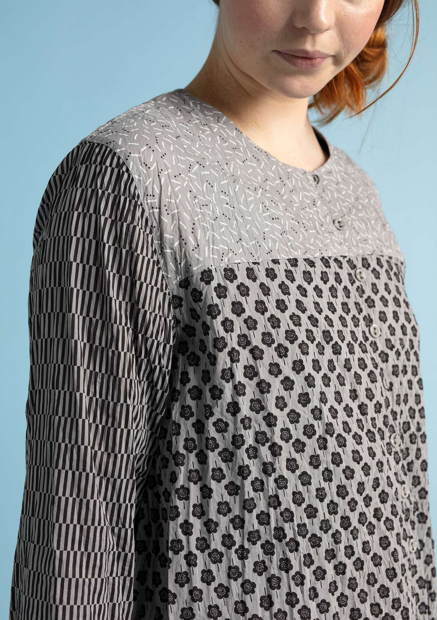 """Myrten"" blouse in organic cotton grey"