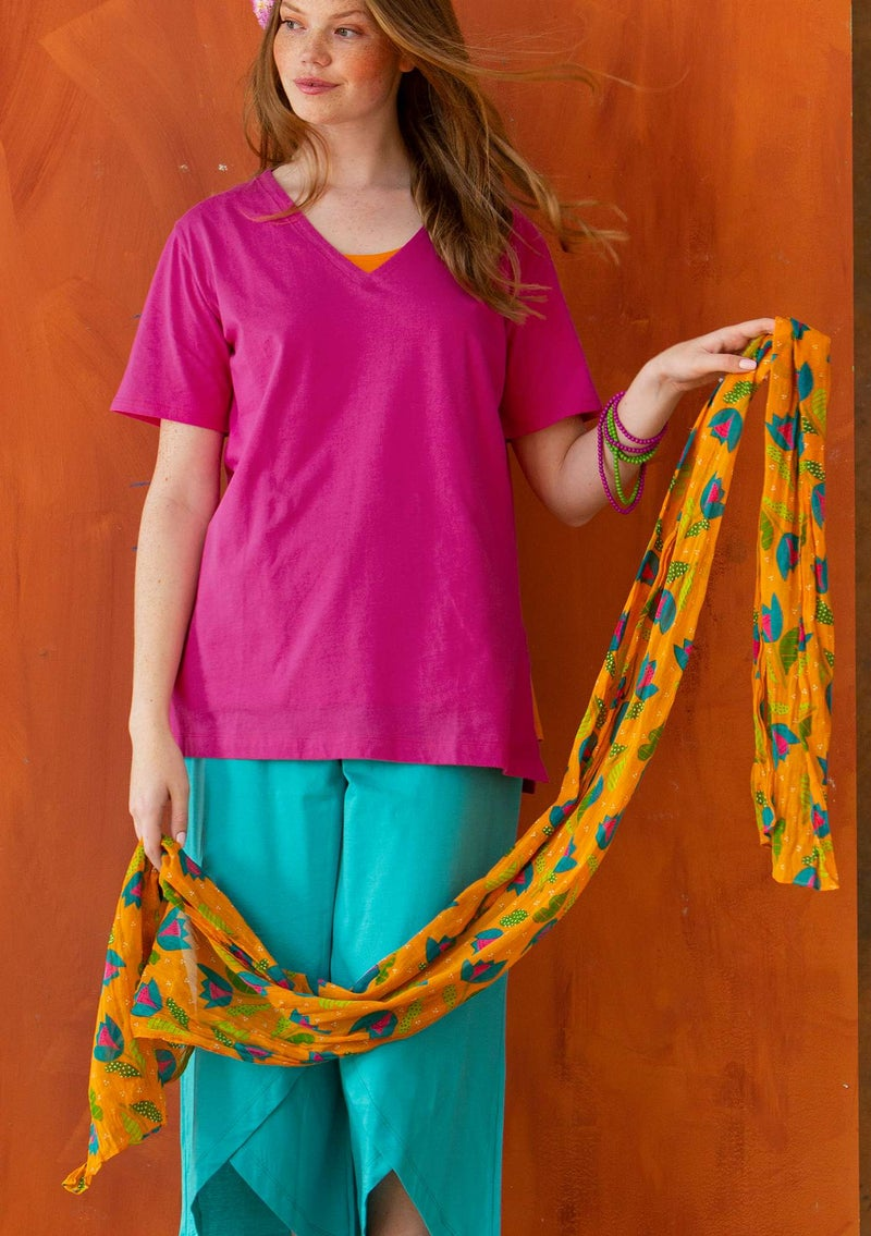 """Makeba"" organic cotton shawl tangerine"