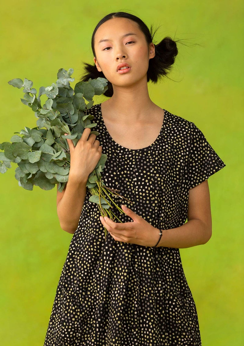 """Confetti"" tunic in lightweight organic cotton black/patterned"