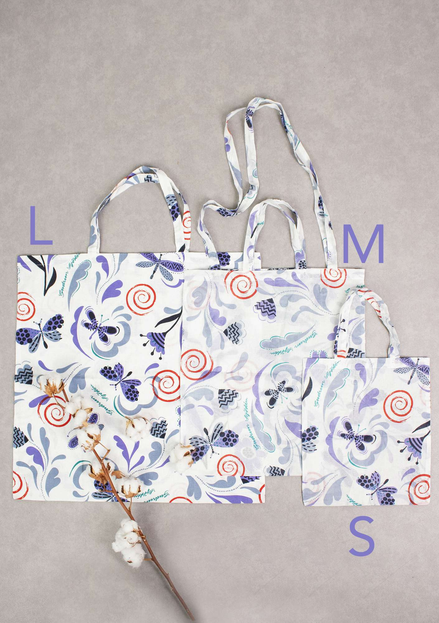 Fabric tote bag L in organic cotton indigo