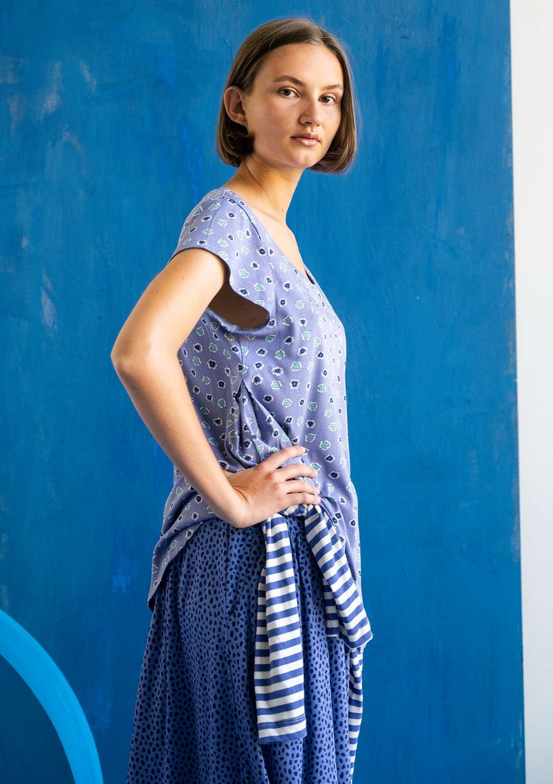 """Himmel"" organic cotton/modal top  midnight blue/patterned"