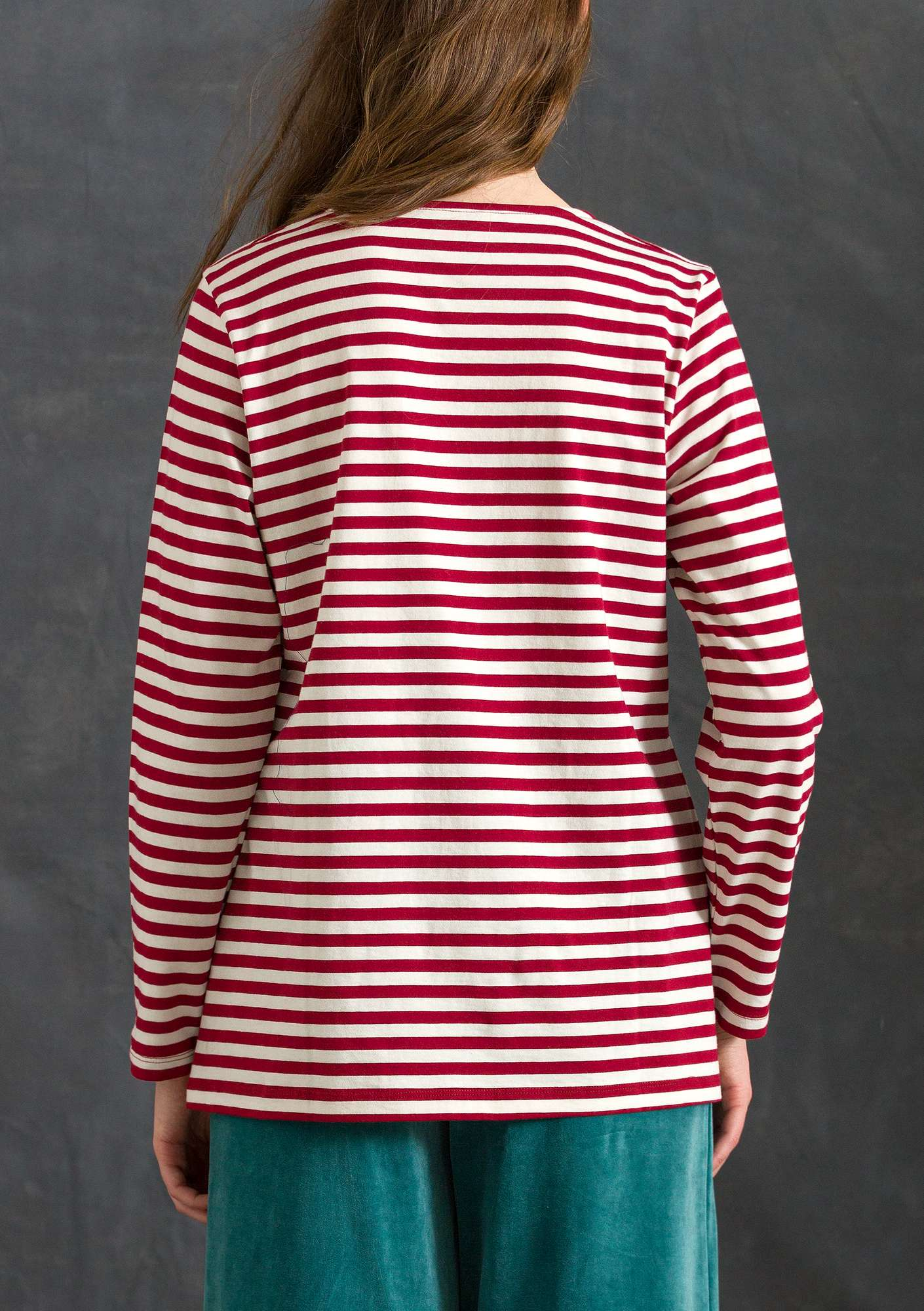 Block-striped top in organic cotton unbleached/cranberry