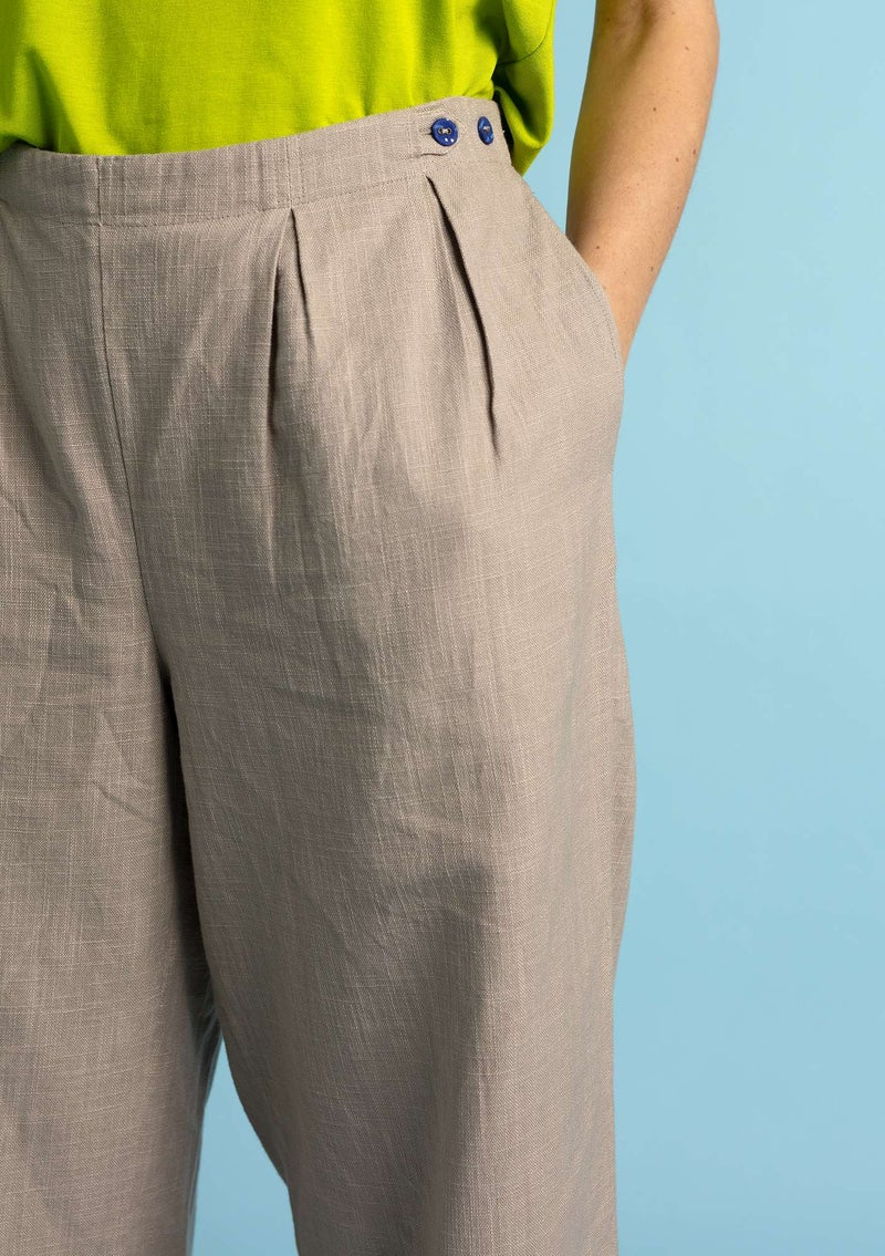 Trousers in linen/organic cotton dark natural