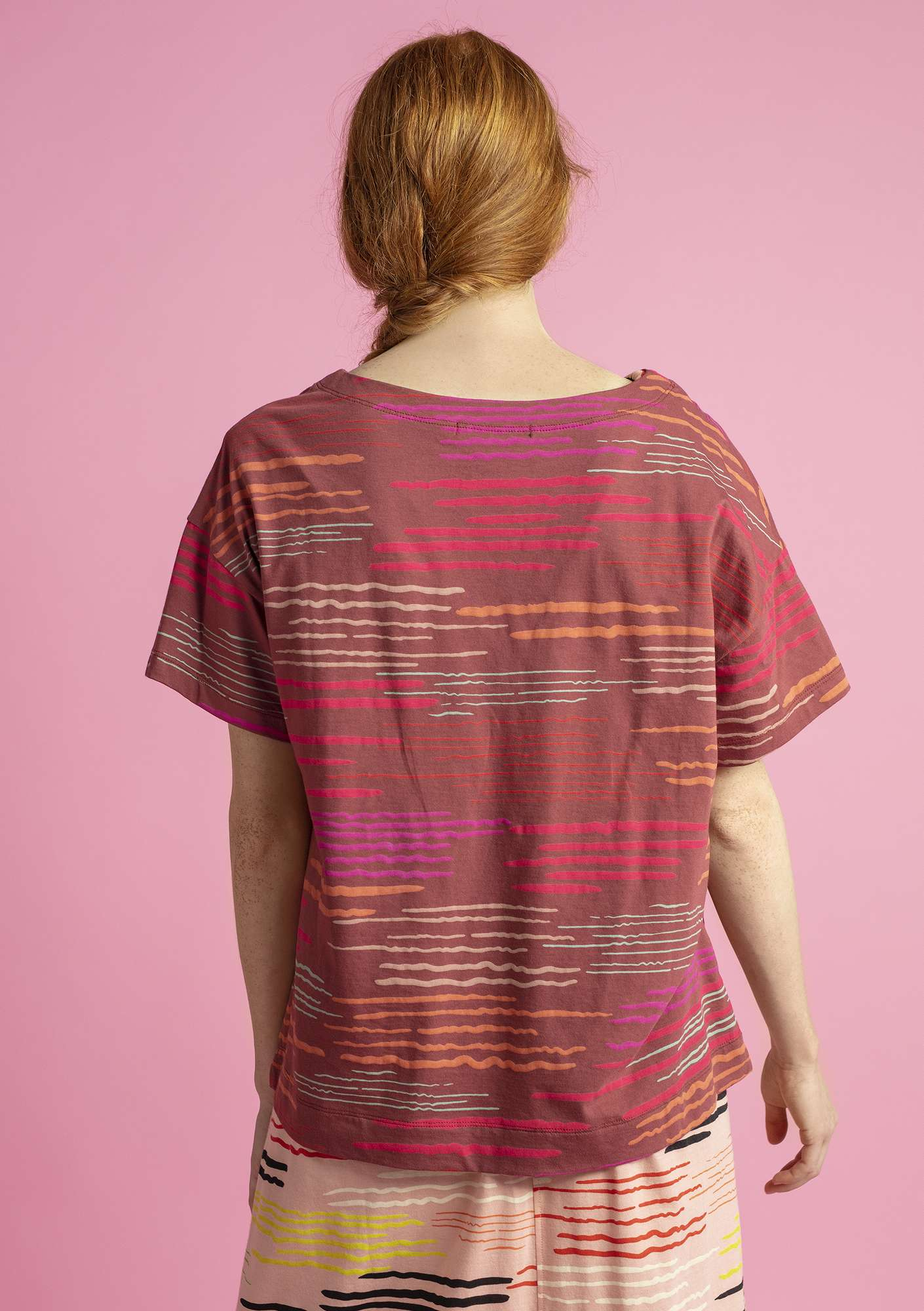 """Capri"" jersey top in eco-cotton gneiss/patterned"