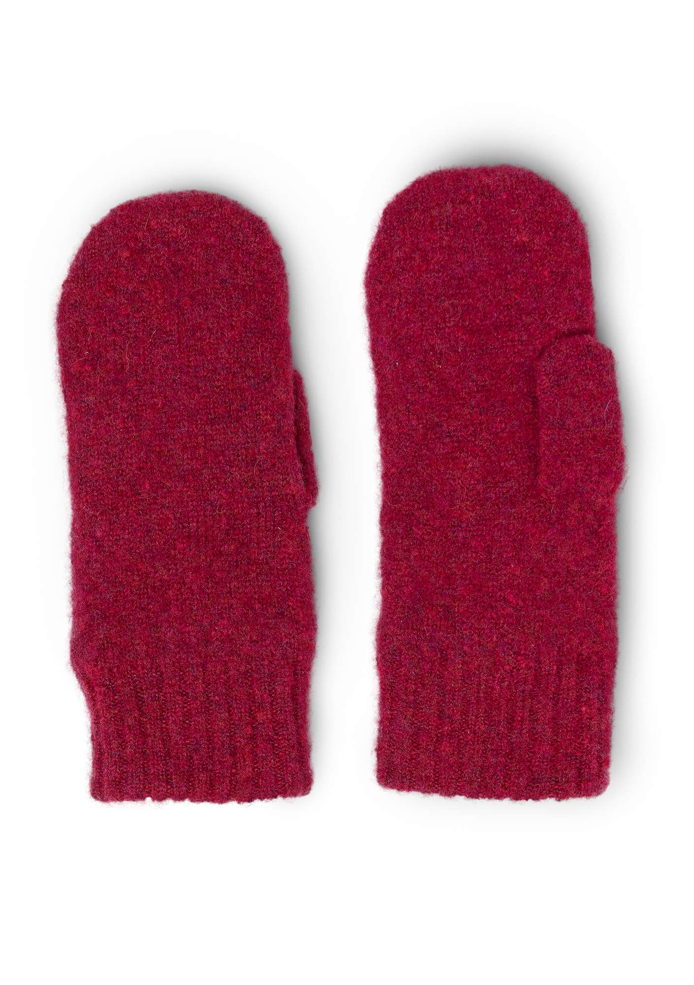 Knit mittens in a recycled cashmere blend dark hibiscus