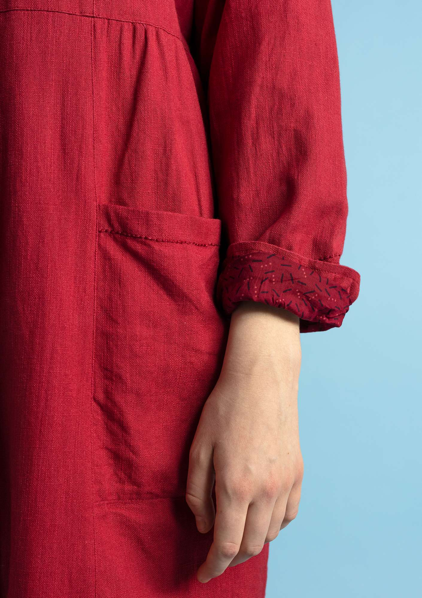 """Pinje"" coat in linen/organic cotton poppy"