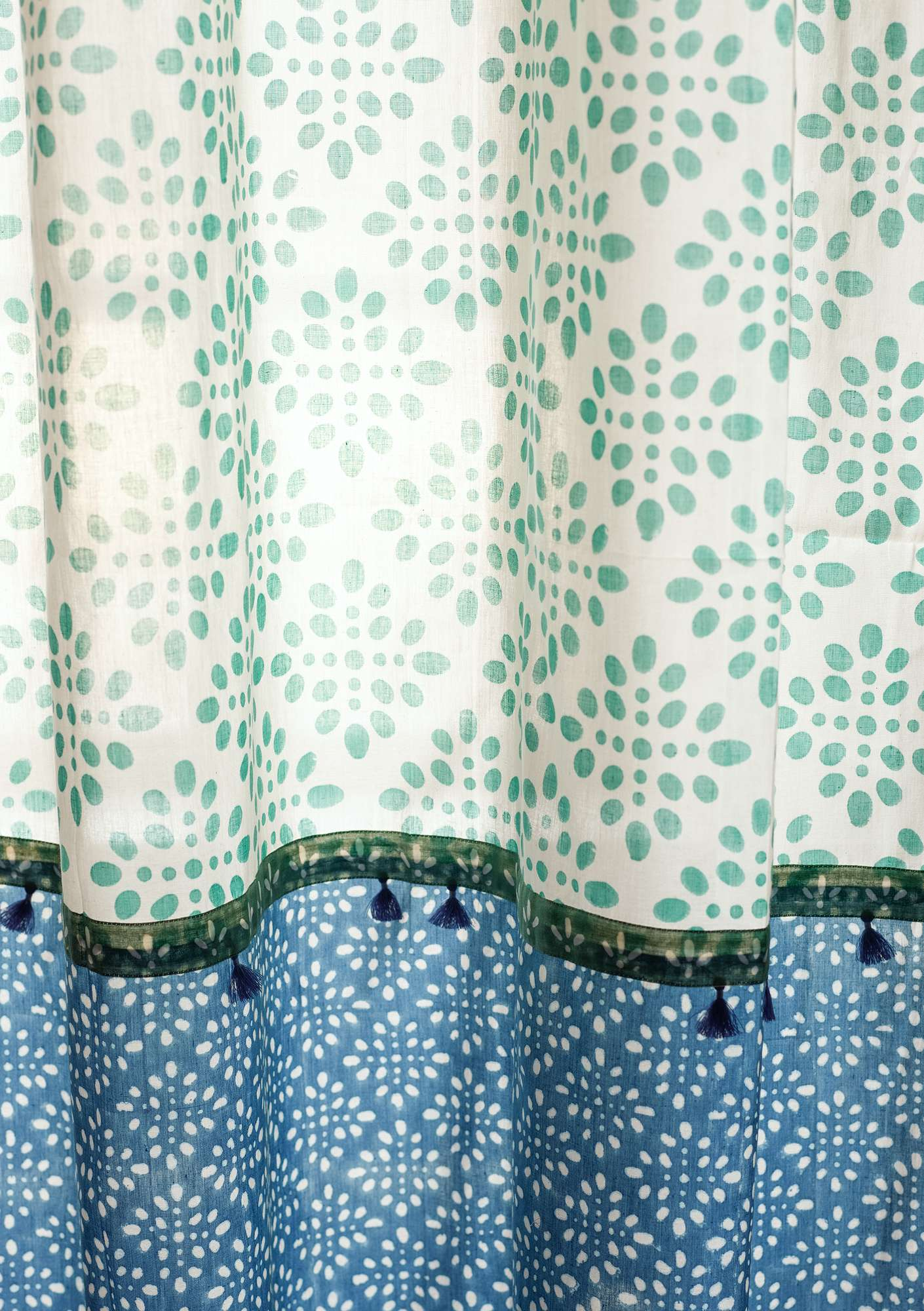 """Amita"" organic cotton curtain flax blue"