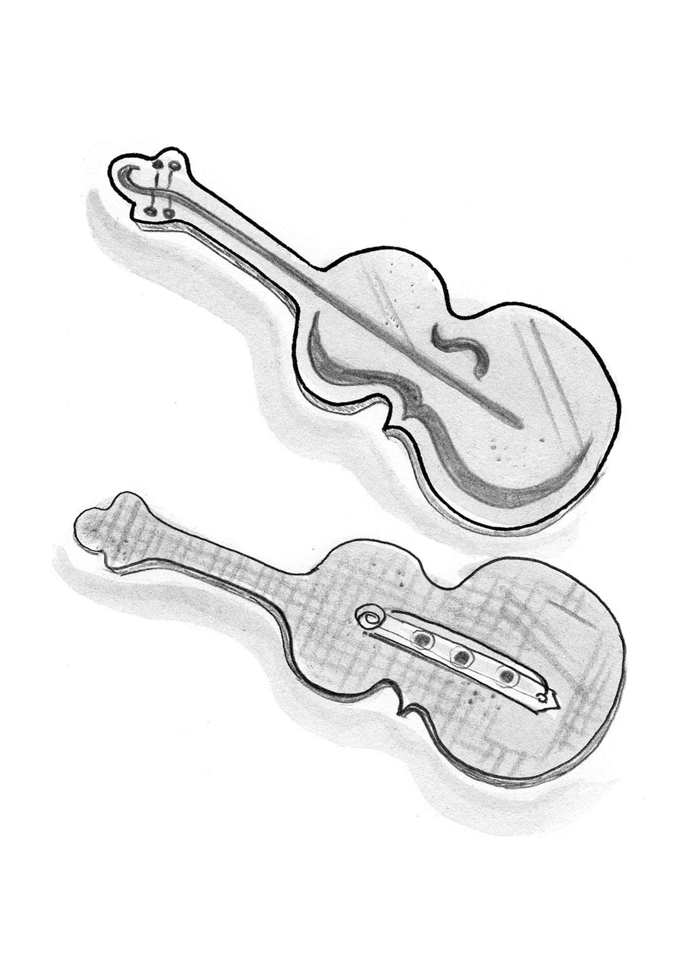 """Violin"" silver-plated zinc brooch grey"