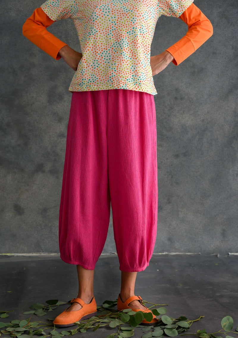 Trousers in organic cotton/linen hibiscus