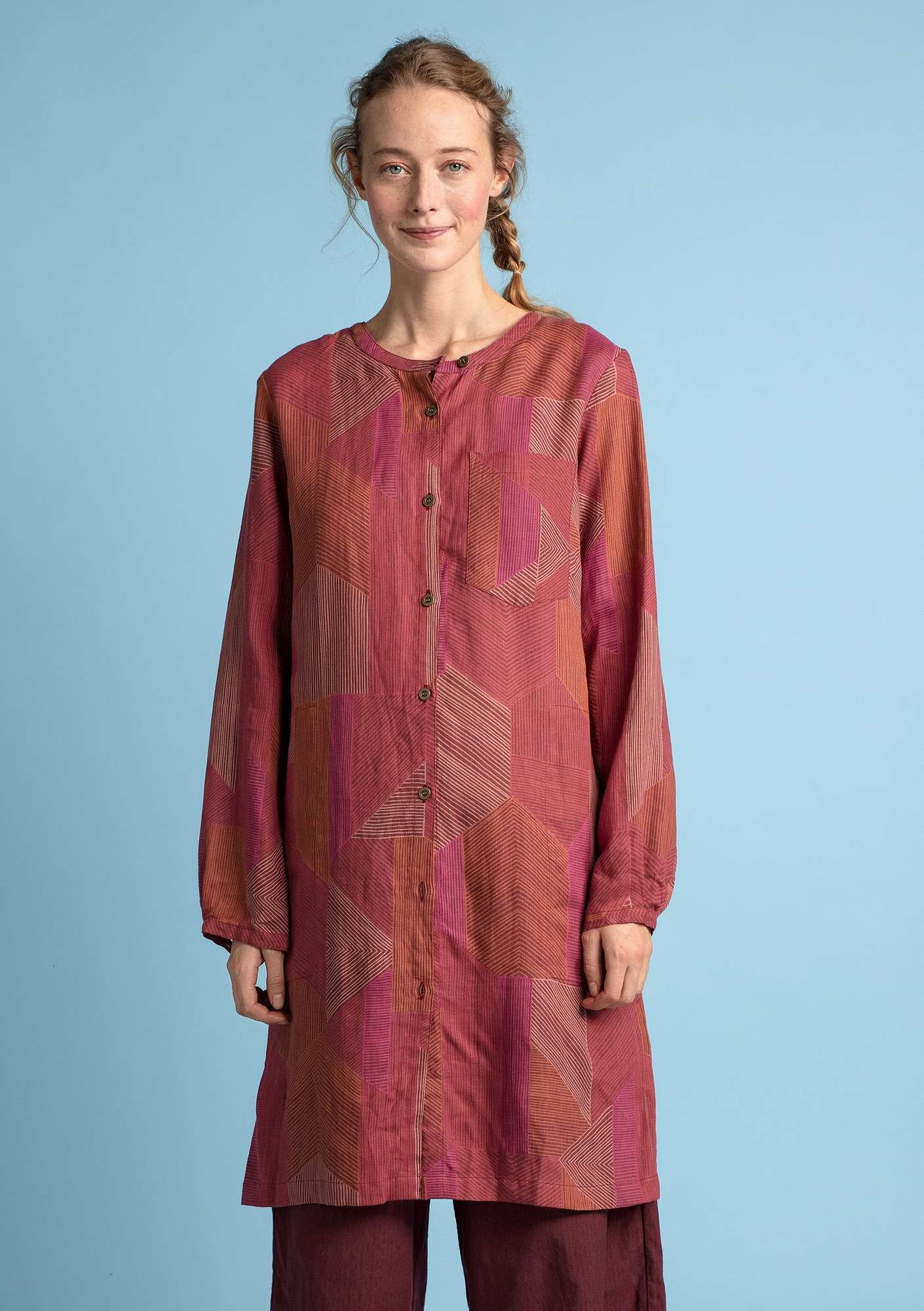 """Octo"" shirt dress in lyocell/linen gneiss"