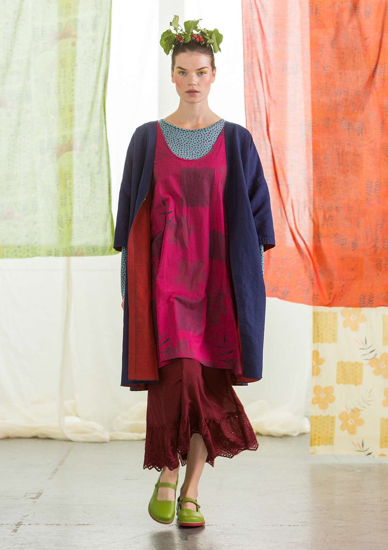 """Twin"" linen/organic cotton reversible kimono red curry"