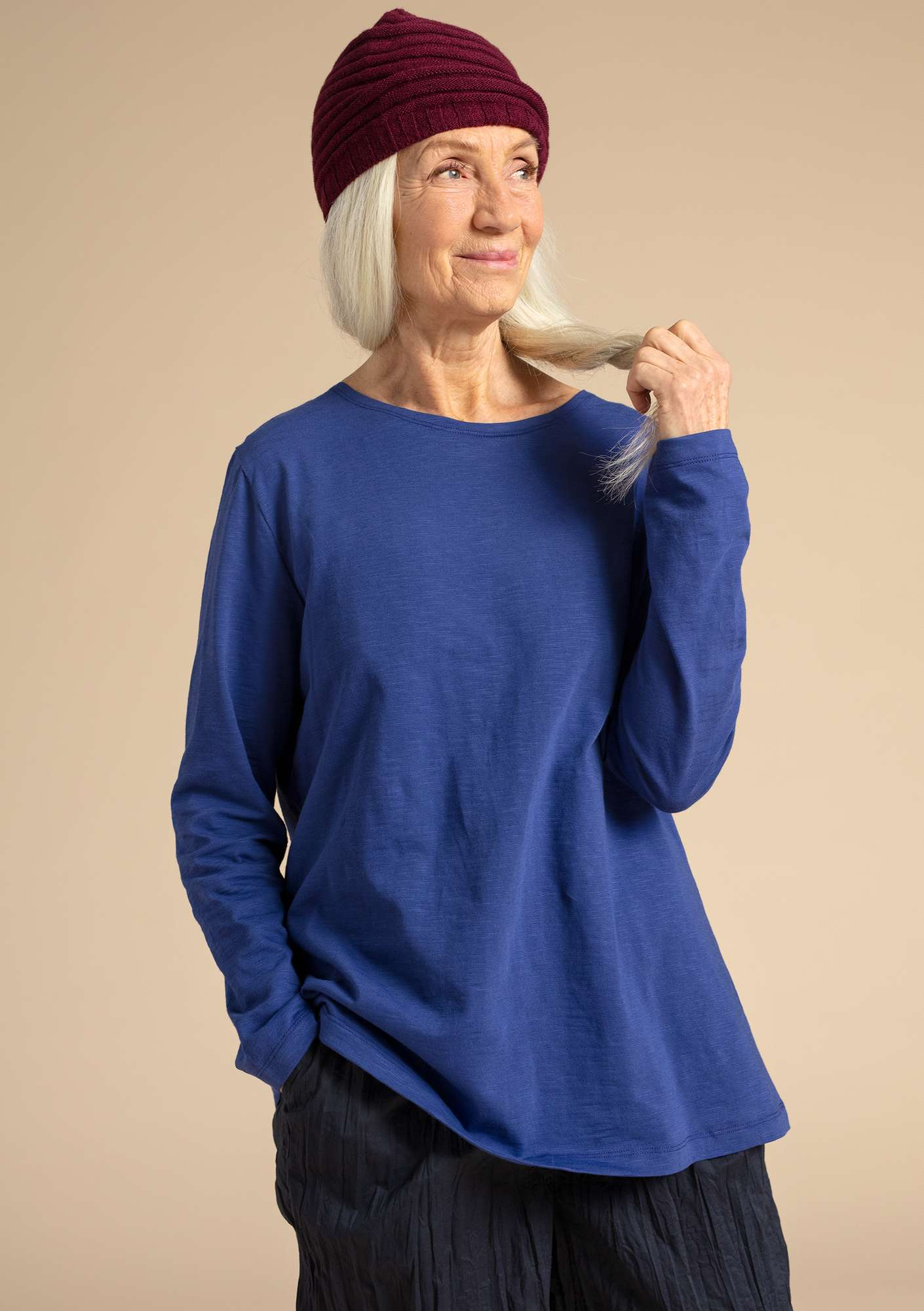 """Livia"" top in eco-cotton violet"