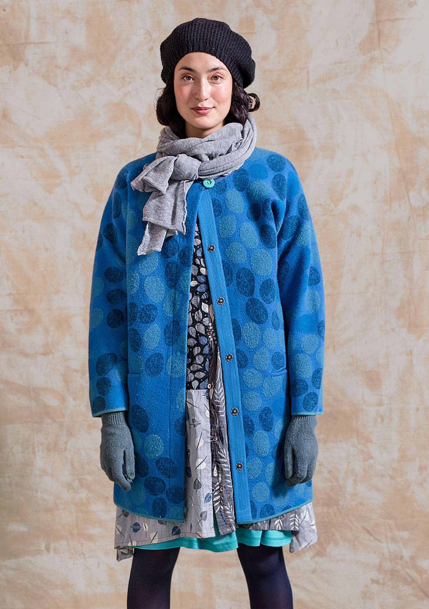 """Röse"" coat in felted wool medium blue"