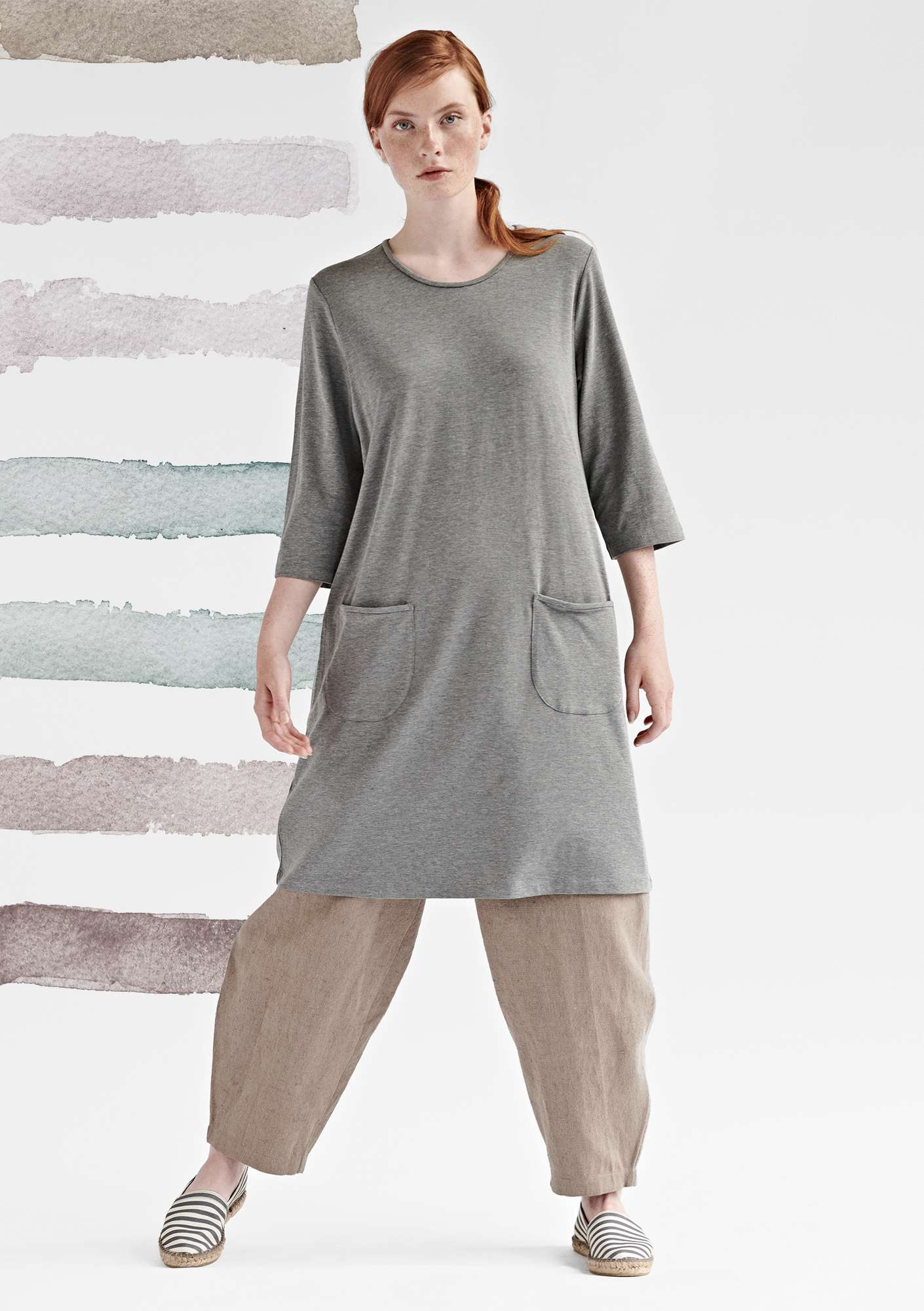 DOT dress in modal/organic cotton/elastane light grey melange