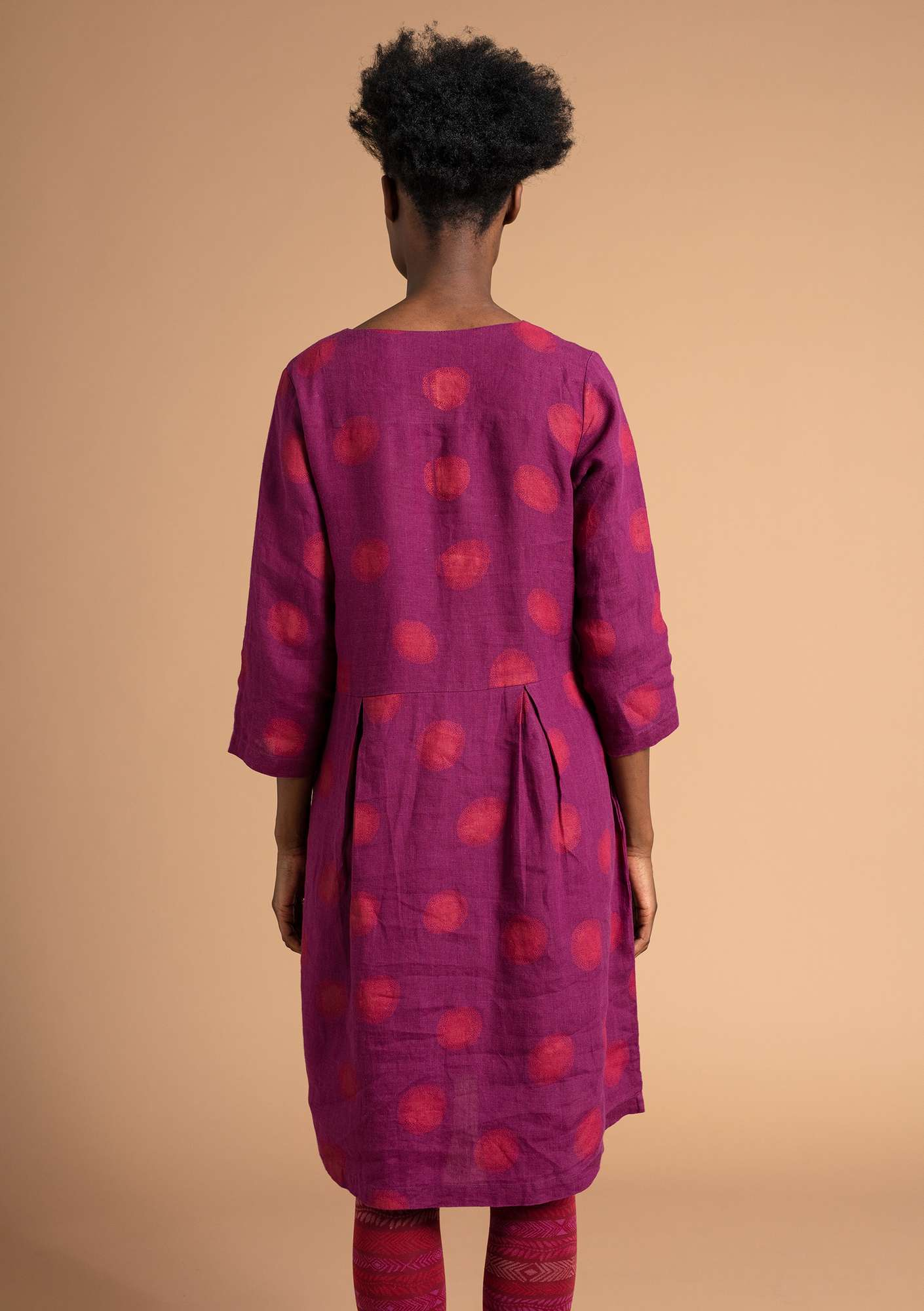 """Sia"" linen dress grape/patterned"