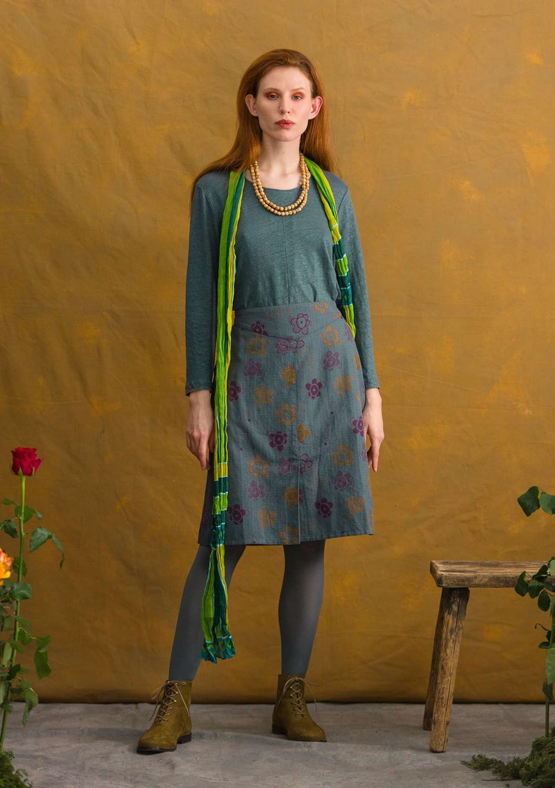 """Lindblom"" organic cotton/linen skirt agave/patterned"