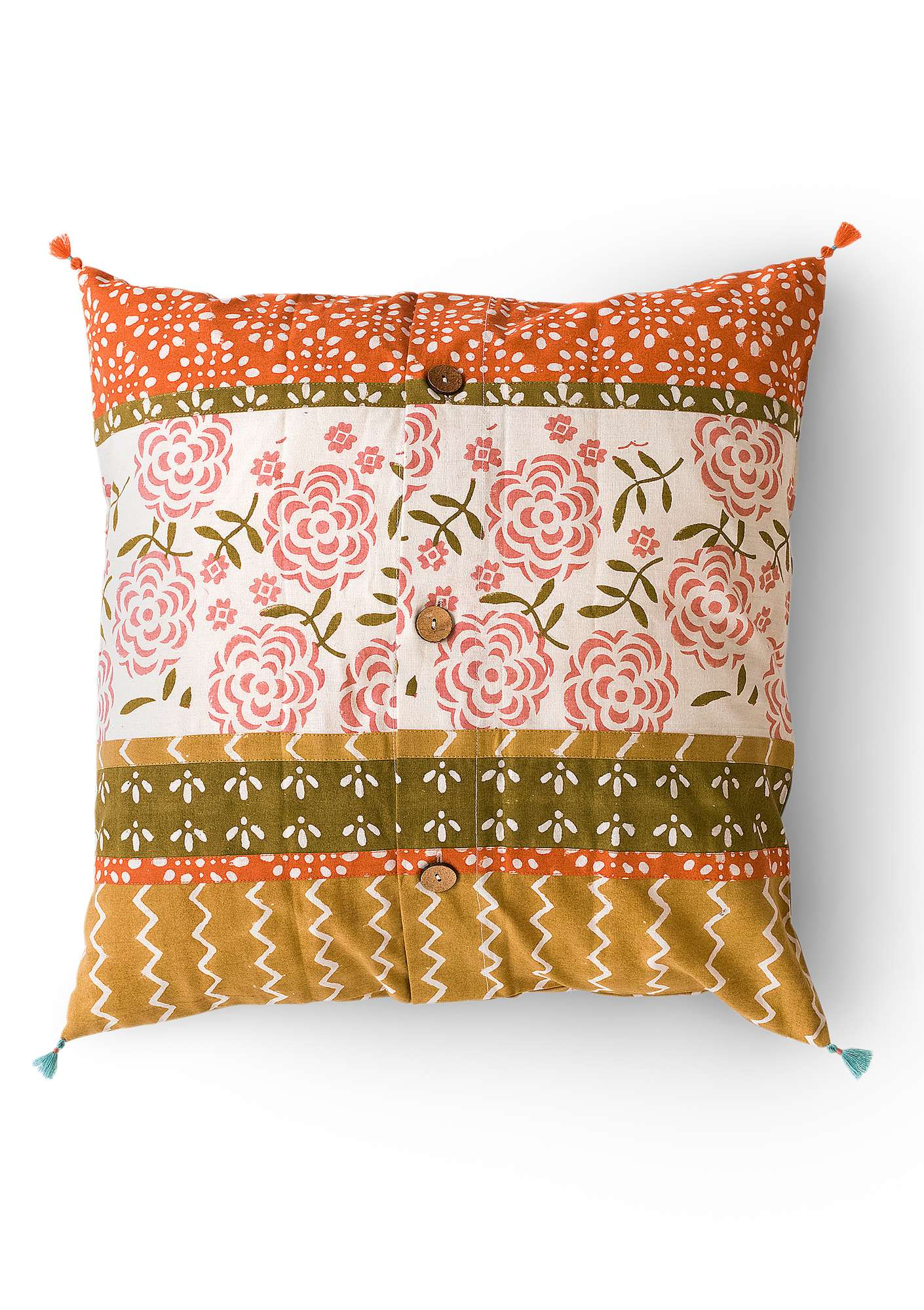 """Amita"" organic cotton cushion cover ochre"