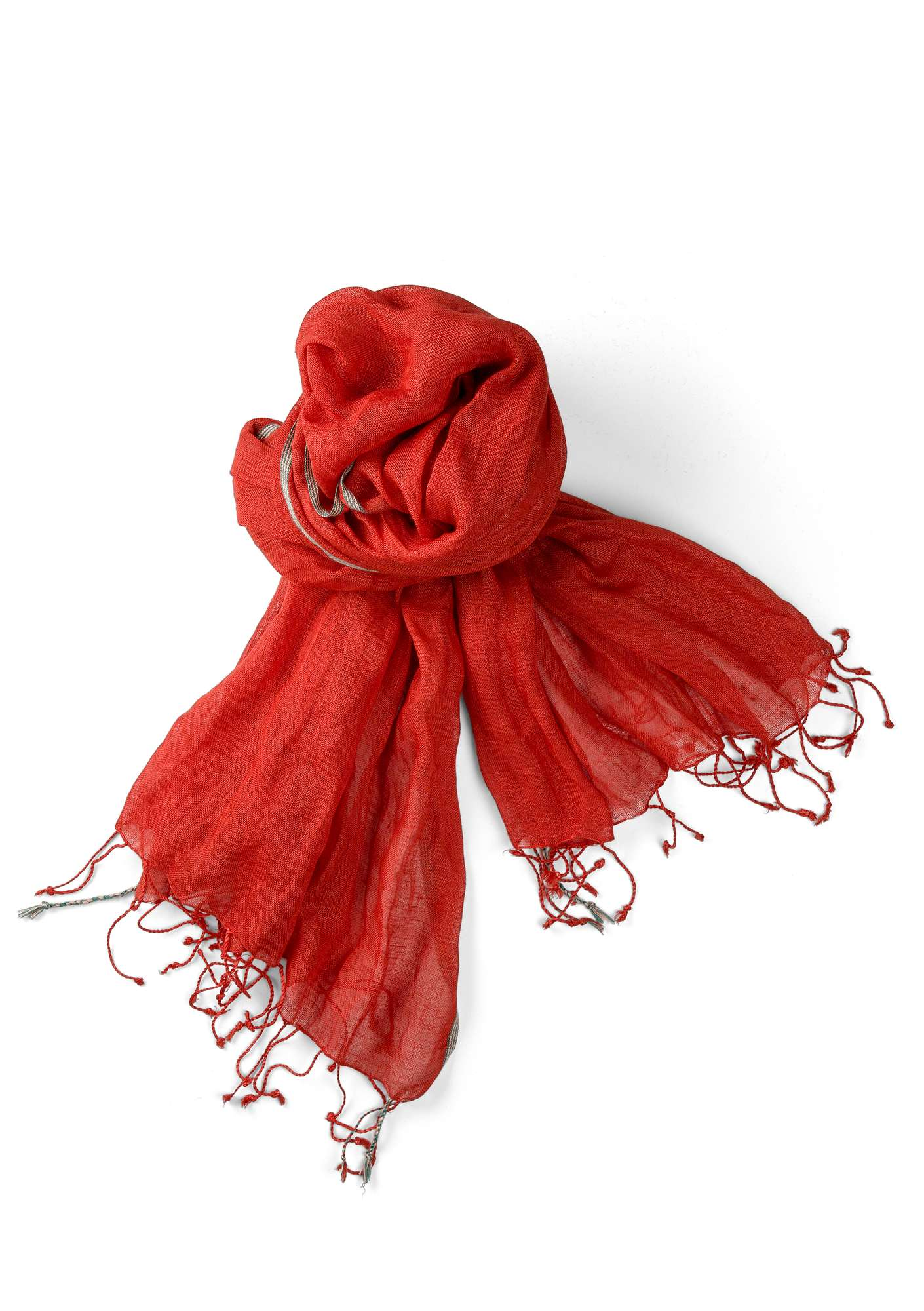 Linen shawl clear red