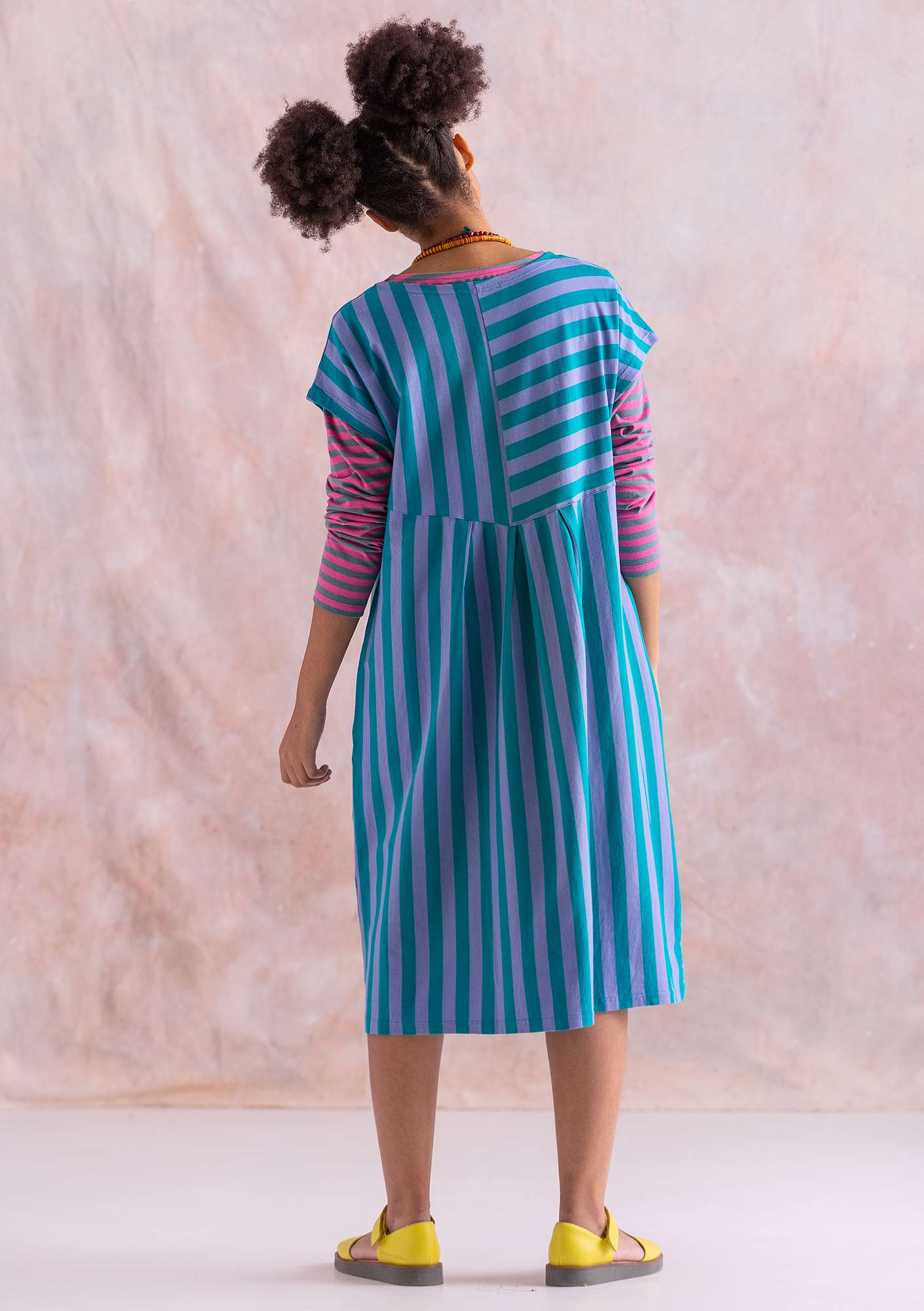Dress in organic cotton forget-me-not/orient green