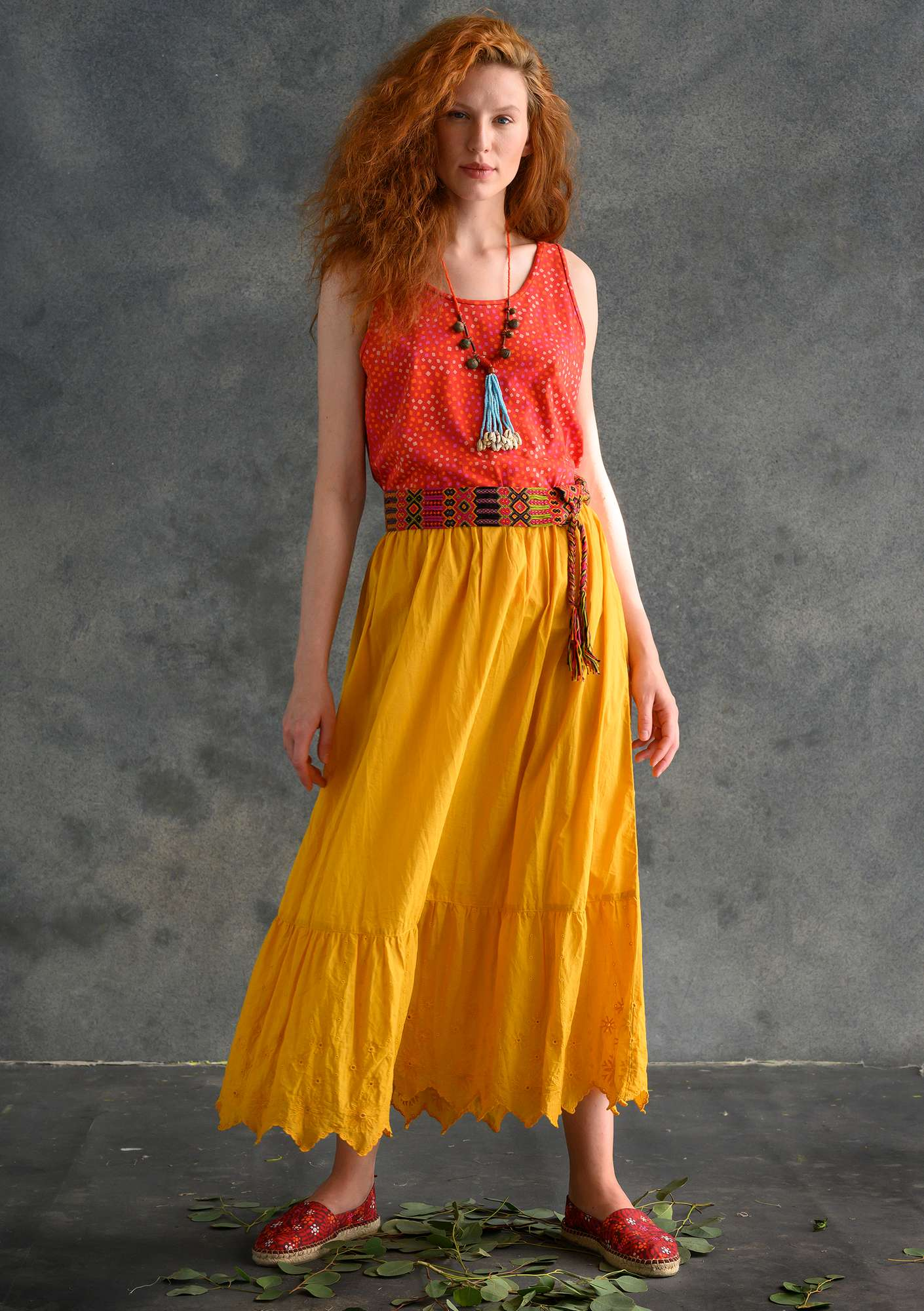 Ruffled organic cotton skirt gold ocher