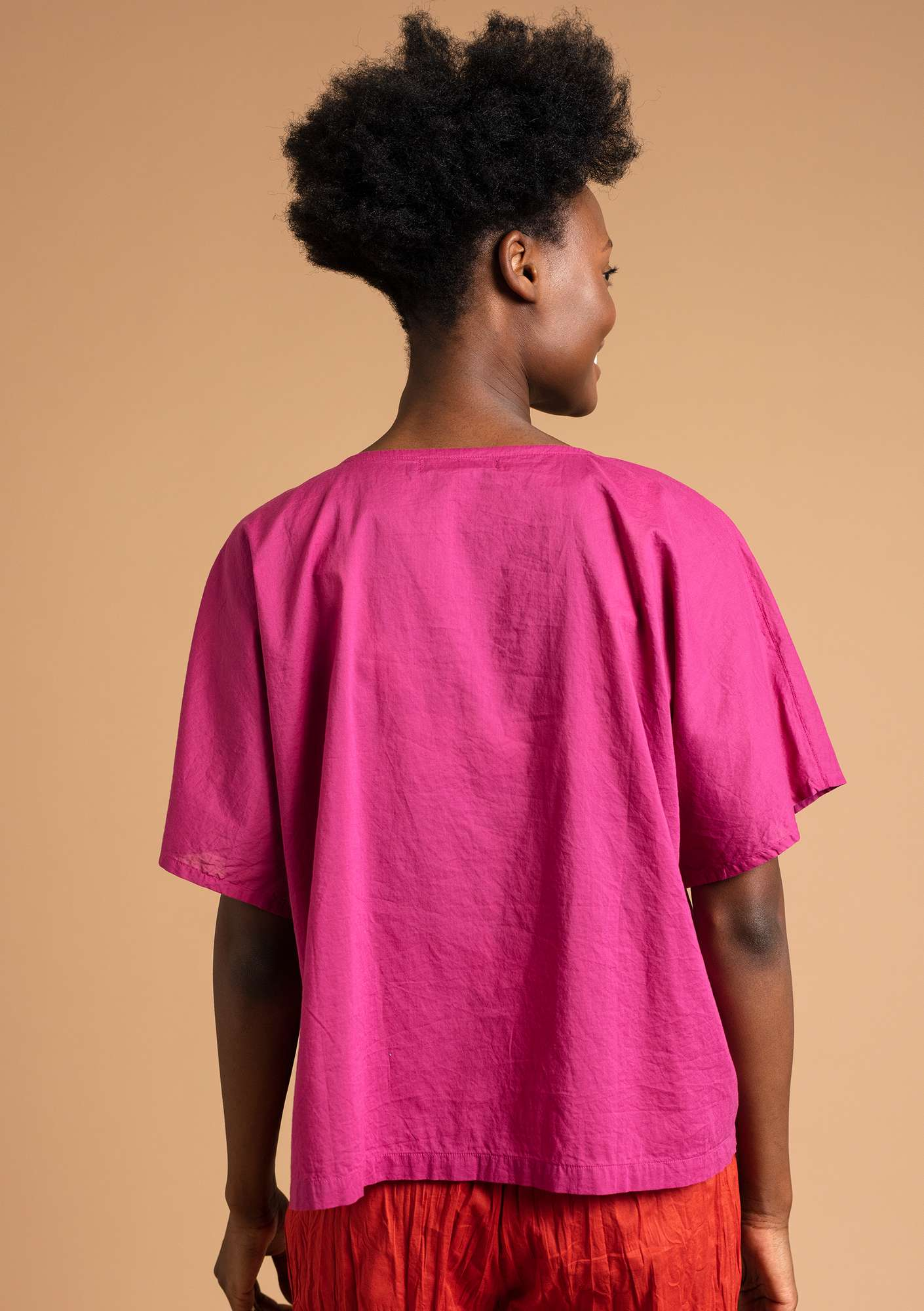 """Rigmor"" blouse in eco-cotton pink orchid"