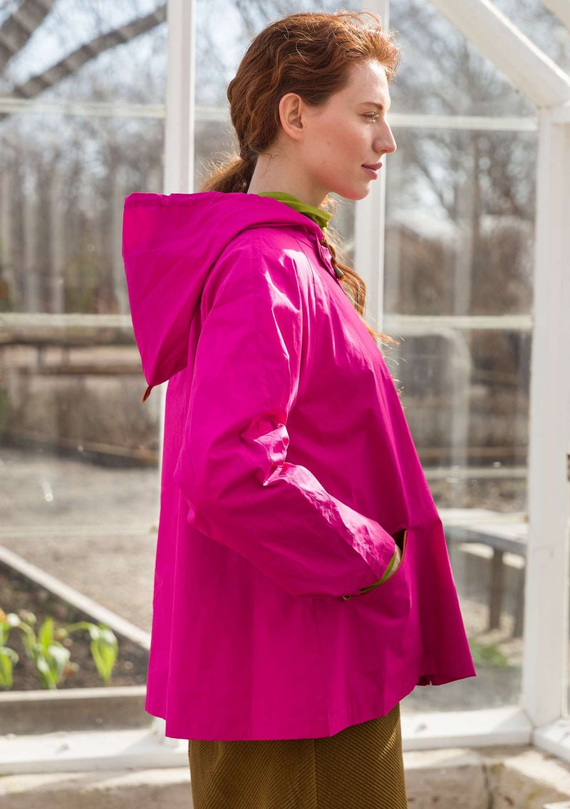 Recycled/organic cotton windbreaker cerise