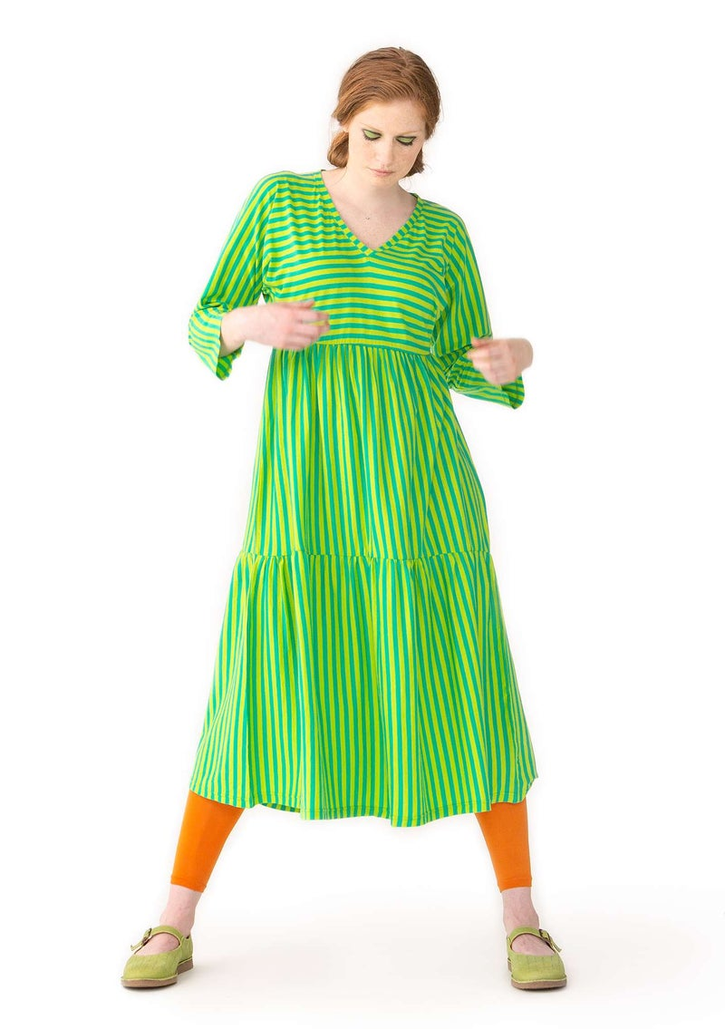 Striped dress in fine organic cotton lotus green/tropical green