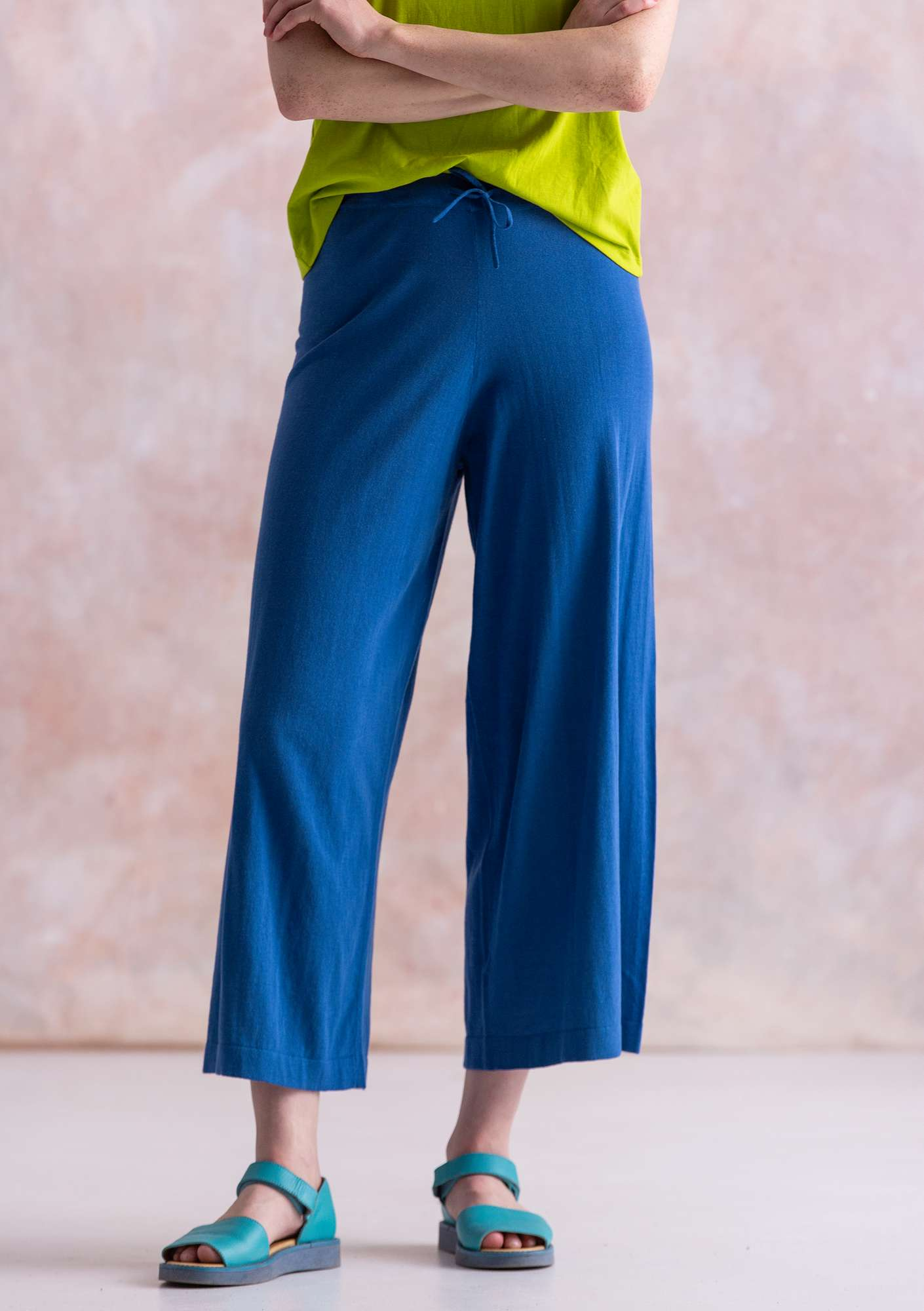 Fine-knit eco-cotton pants porcelain blue
