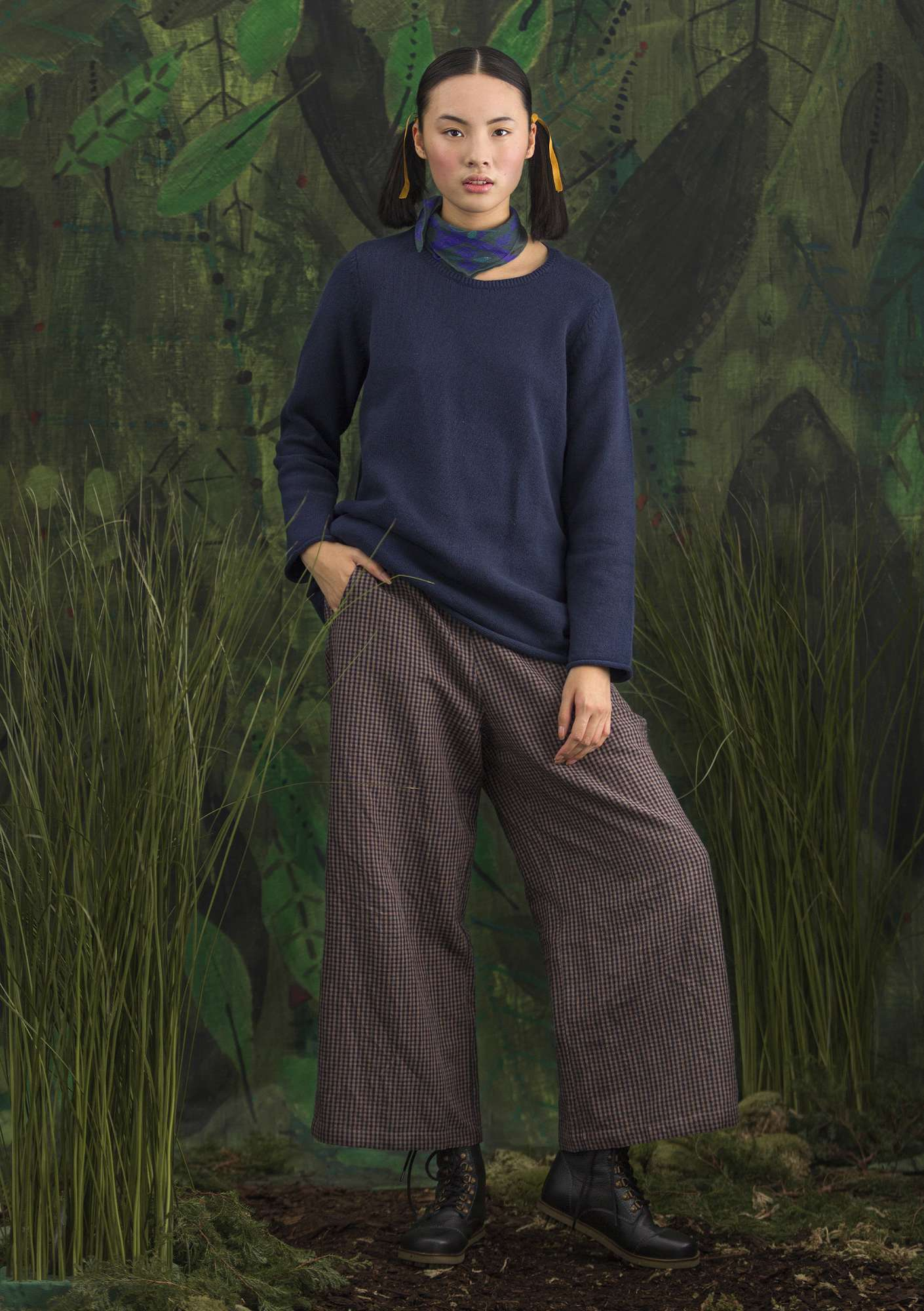 "FAVOURITE sweater ""Belle"" made of recycled cotton blue mussel/solid colour"