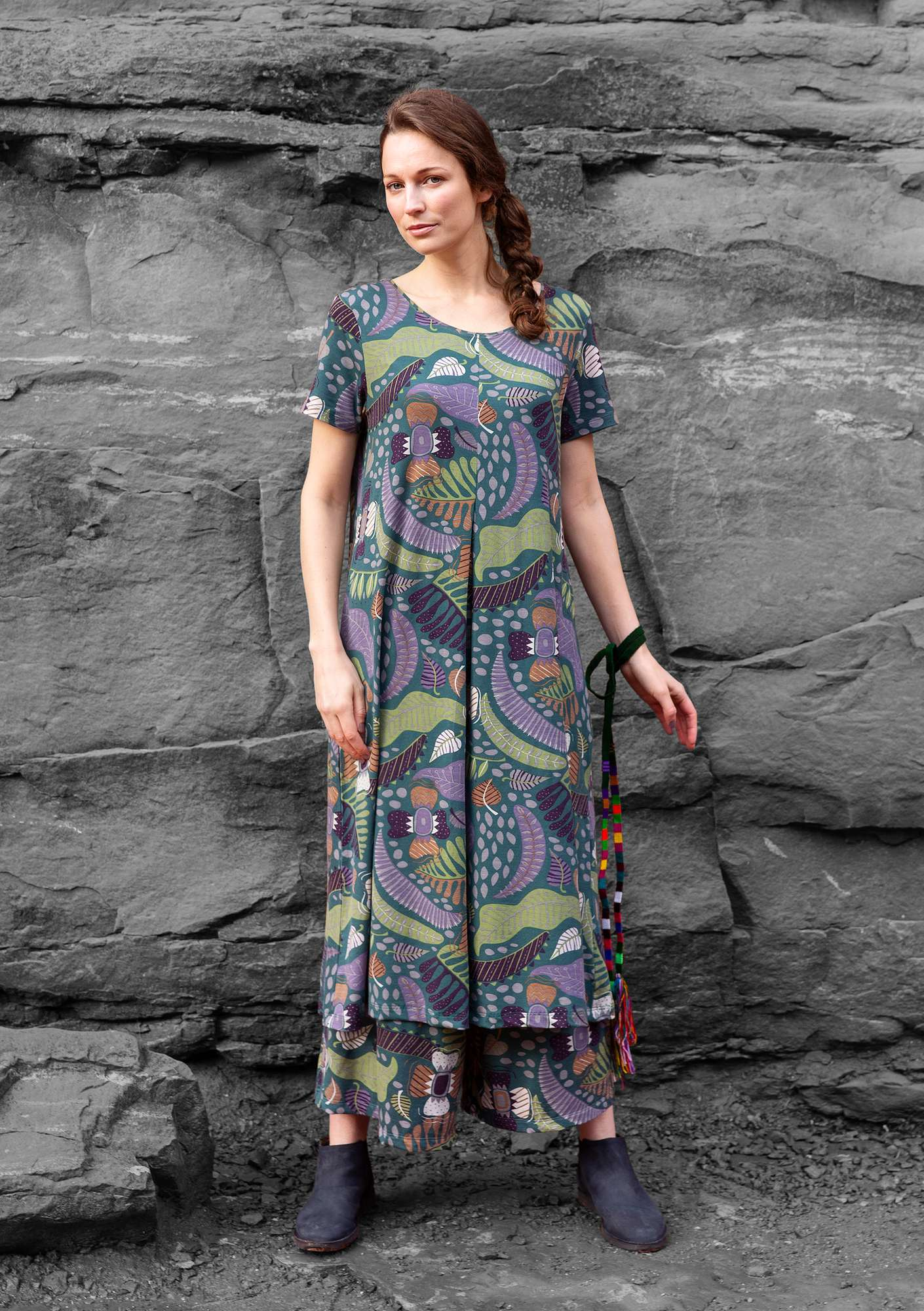 """Paradise"" dress in lyocell/elastane agave/patterned"