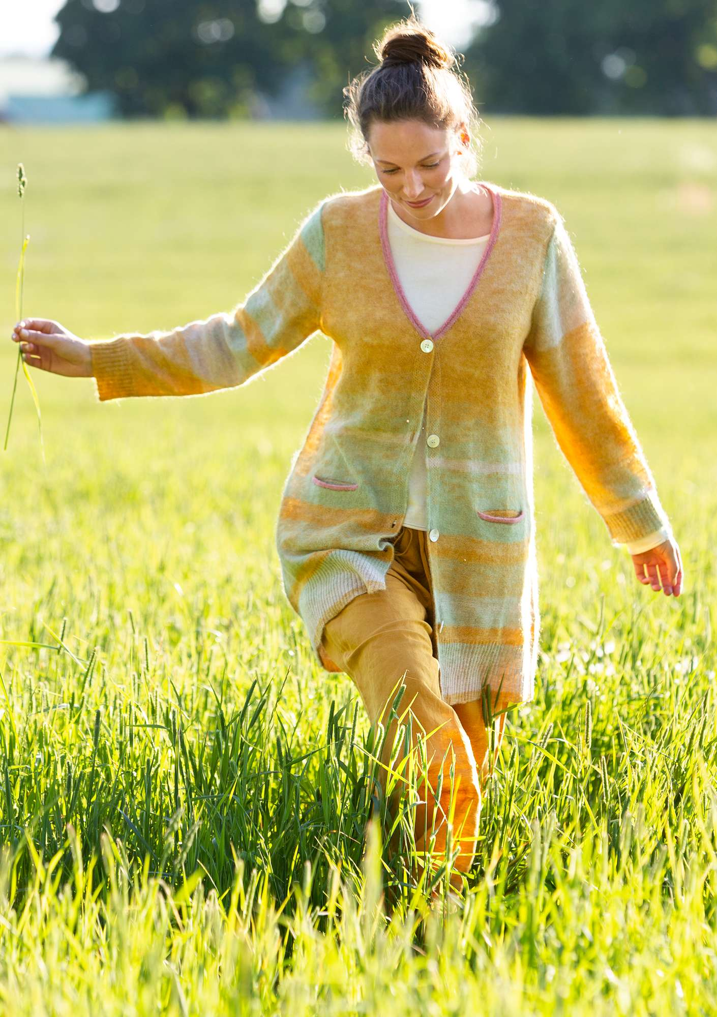 """Dagg"" long cardigan in an alpaca/wool blend oatmeal"