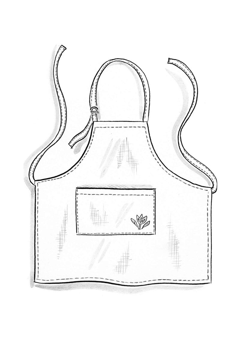 Washed linen apron poppy