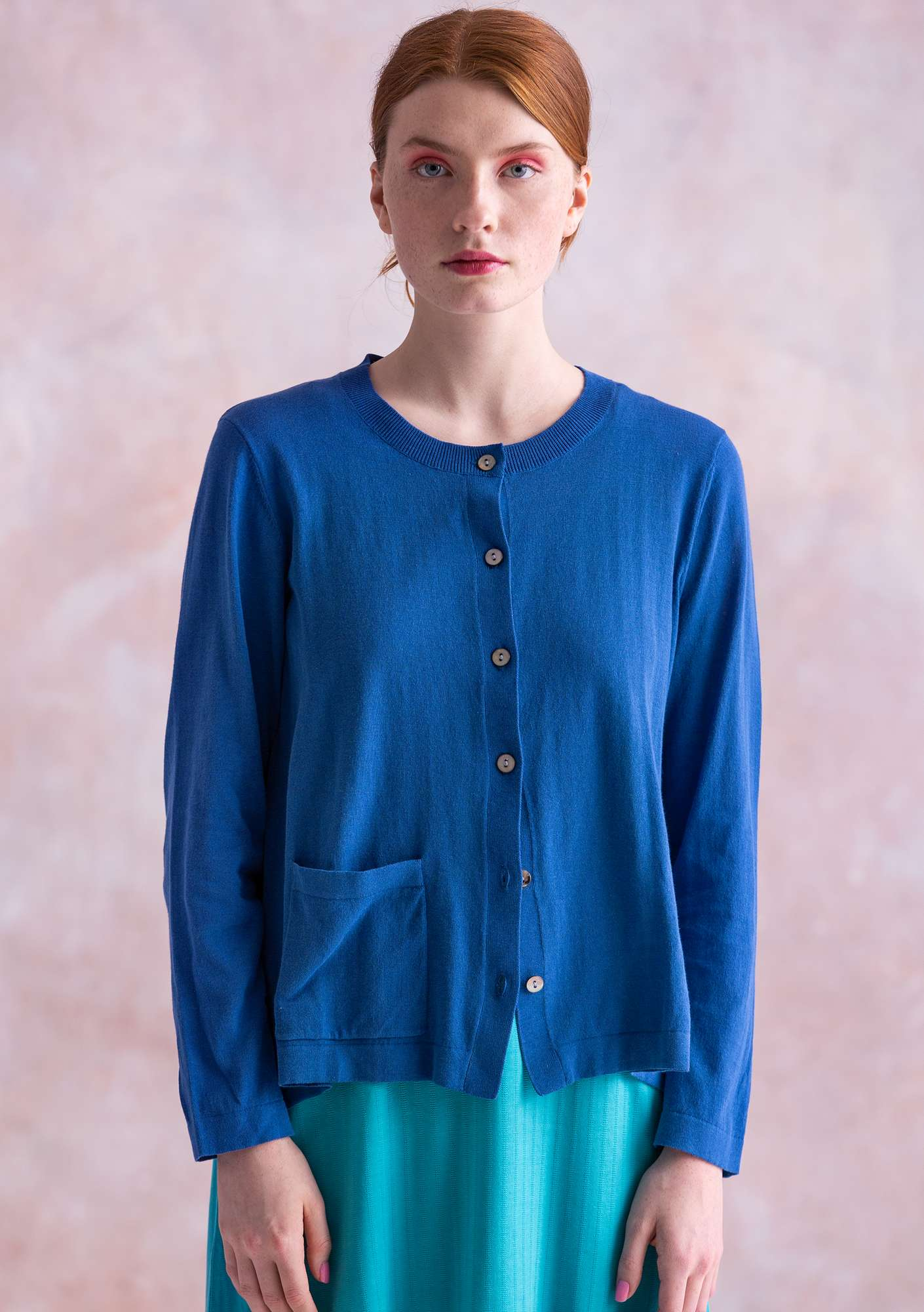 Solid-colour cardigan porcelain blue