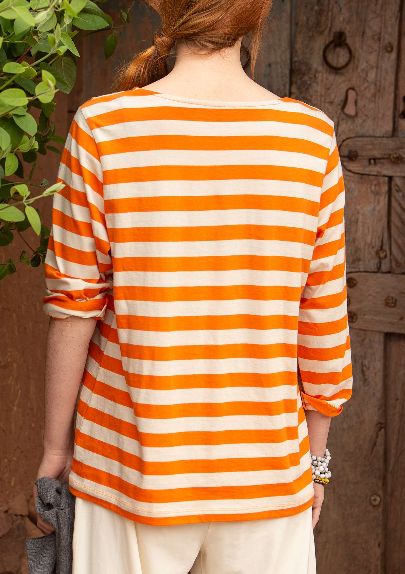 Block-striped top in eco-cotton nectar/natural