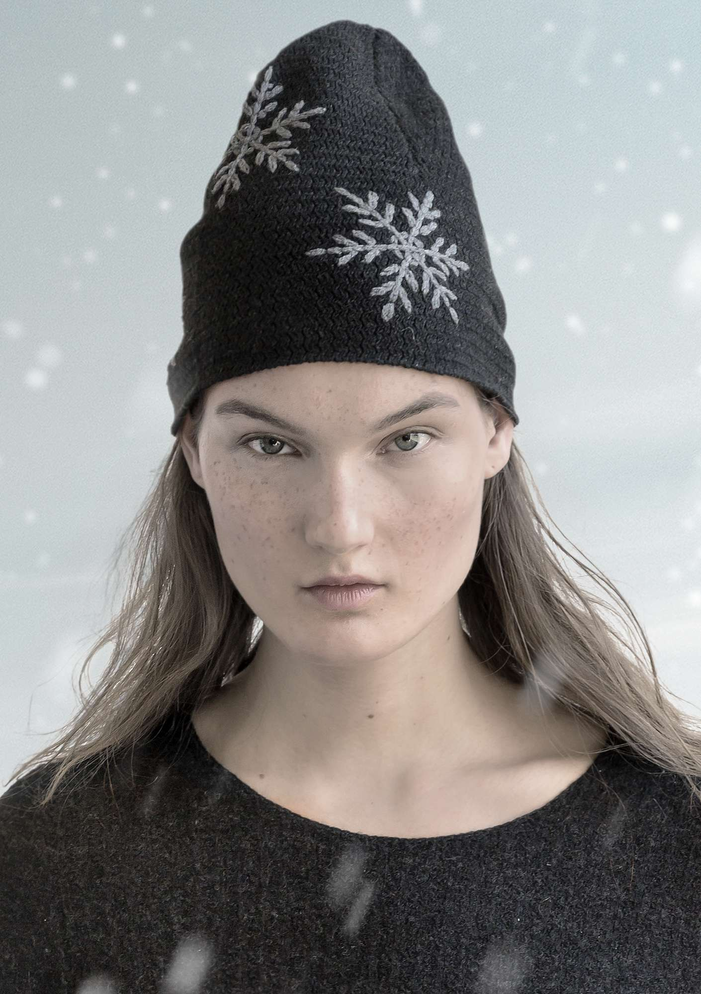 """Kanek"" beanie in organic cotton/wool dark ash grey melange"