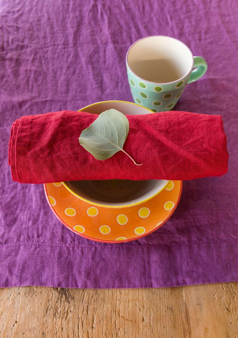 Washed linen cloth napkin poppy