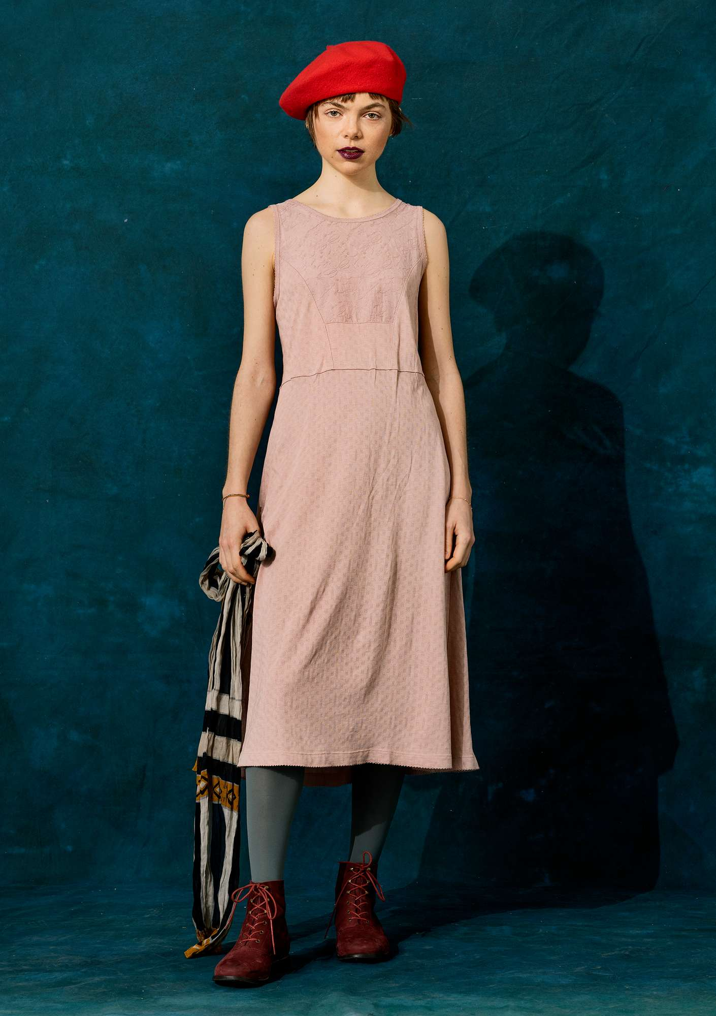 Pointelle dress in organic cotton/modal pink sand