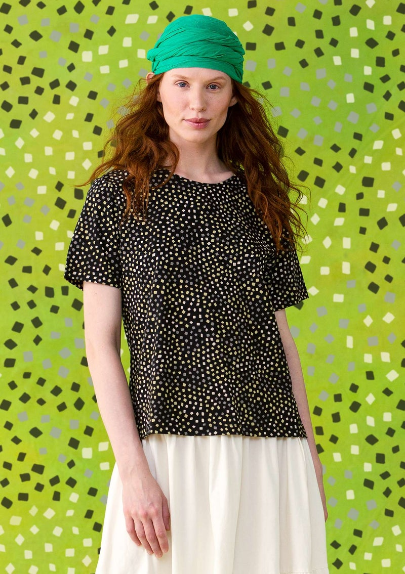 """Confetti"" t-shirt in fine organic cotton black/patterned"